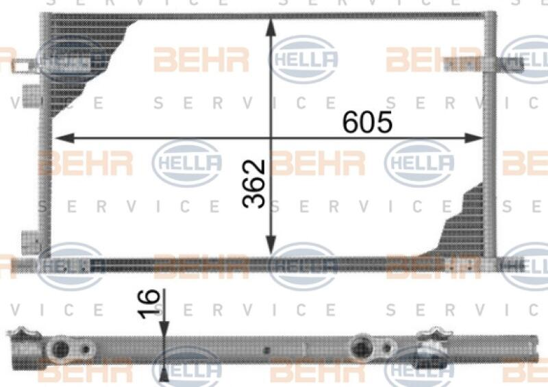 HELLA Kondensator, Klimaanlage BEHR HELLA SERVICE Version ALTERNATIVE