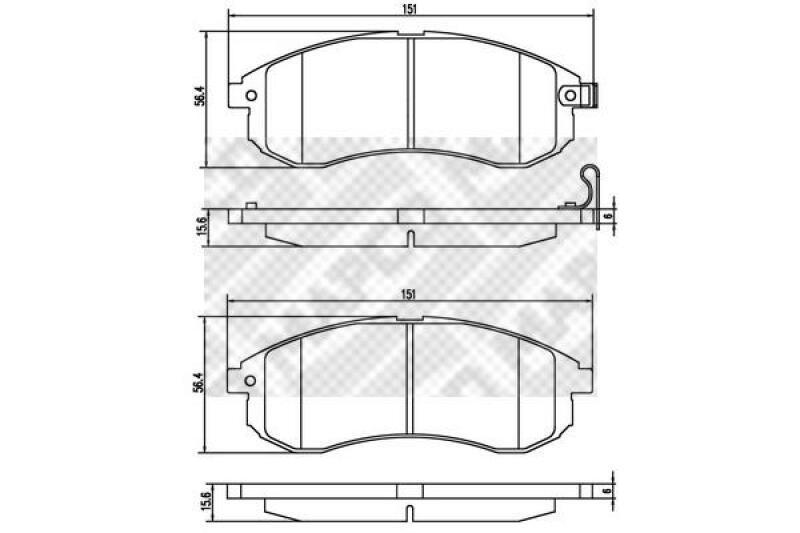 MAPCO 4x Bremsbeläge Bremsbelagsatz