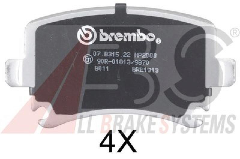 A.B.S. 4x Bremsbeläge Bremsbelagsatz SPORTLINE