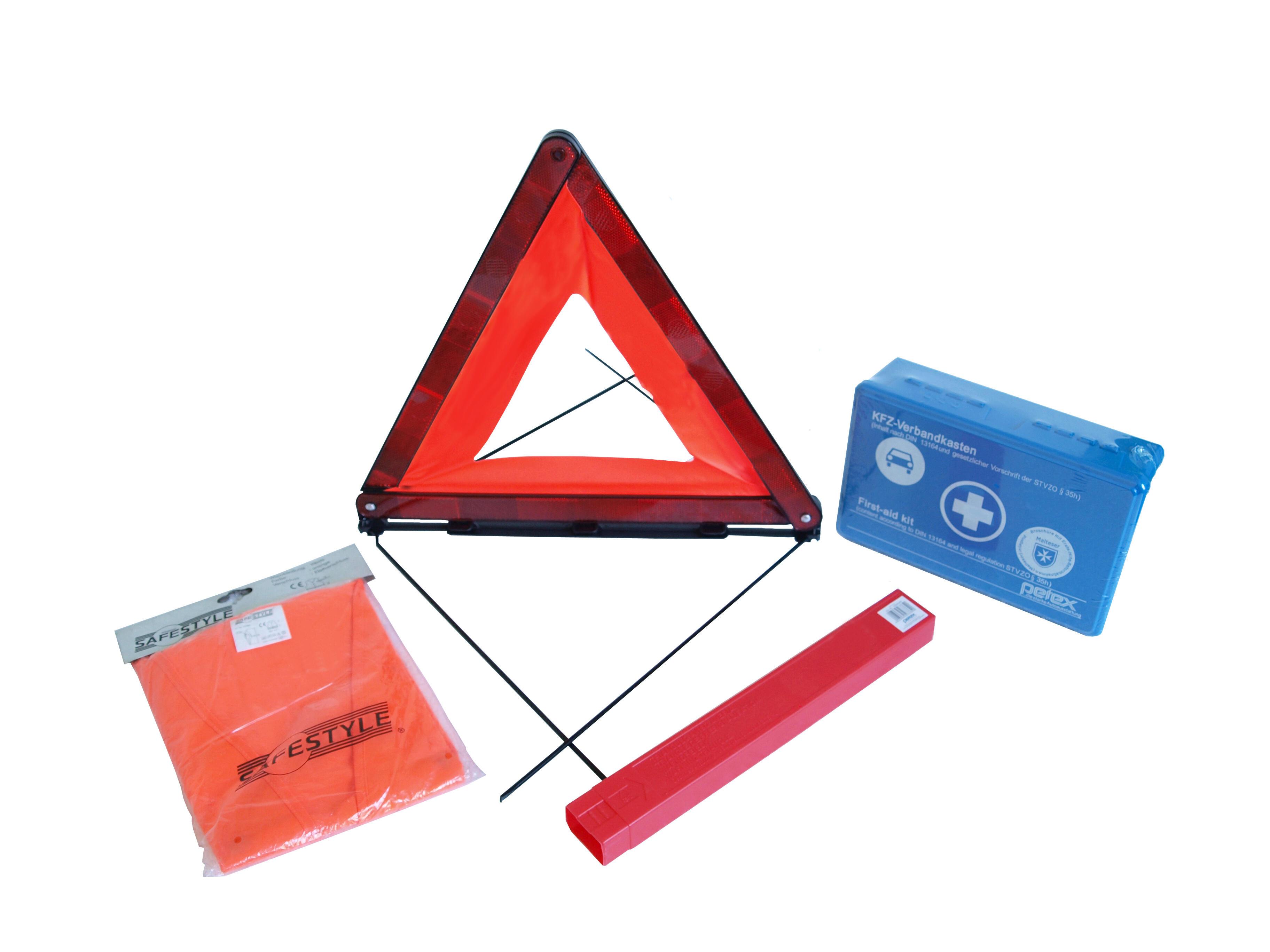 Sicherheitsset Warnweste + Verbandkasten + Warndreieck + Pannendreieck
