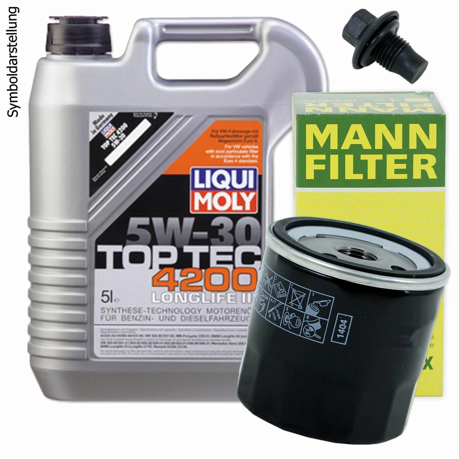 Ölwechsel Set 5L 5W30 Öl Motoröl LIQUI MOLY + MANN Ölfilter + Ablassschraube