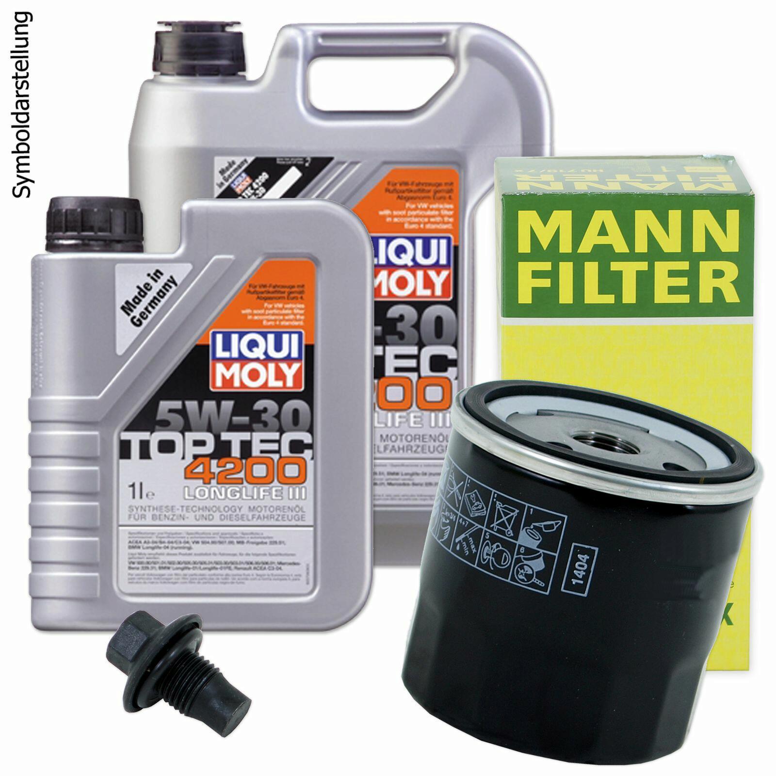 Ölwechsel Set 6L 5W30 Öl Motoröl LIQUI MOLY + MANN Ölfilter + Ablassschraube