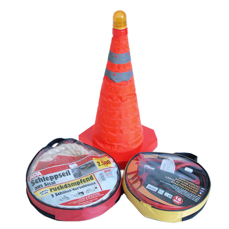 Auto-Pannenset Starthilfekabel + Abschleppseil + Warnblinkkegel