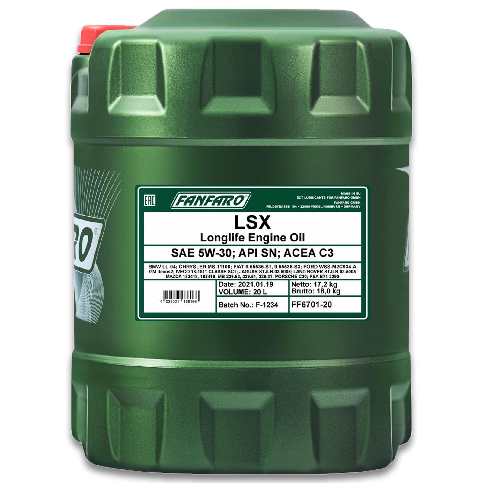 20L Fanfaro 5W-30 LXS Motoröl