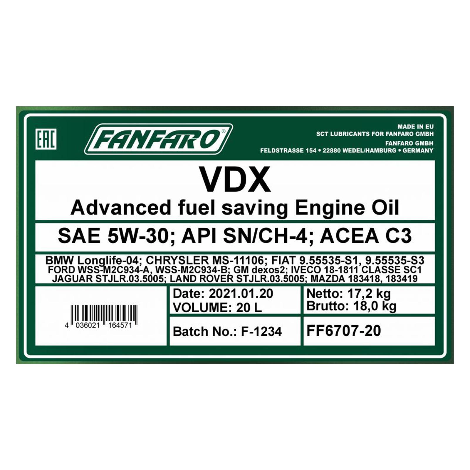 20L Fanfaro VDX Motoröl 5W-30