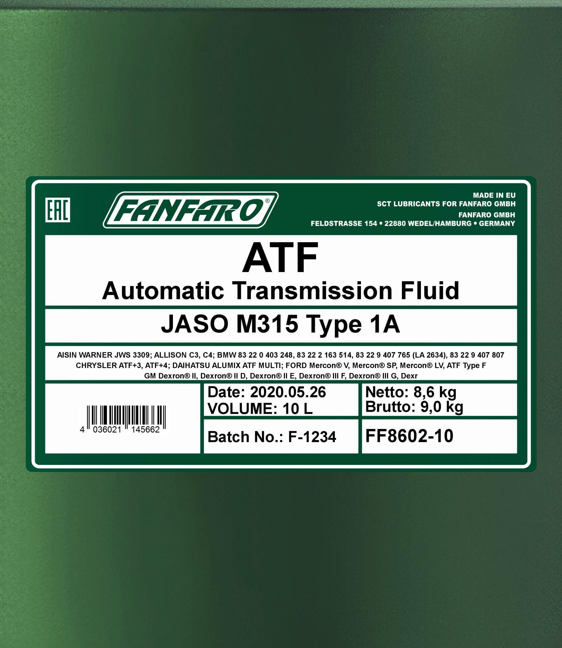 10L FANFARO ATF Getriebeöl Universal