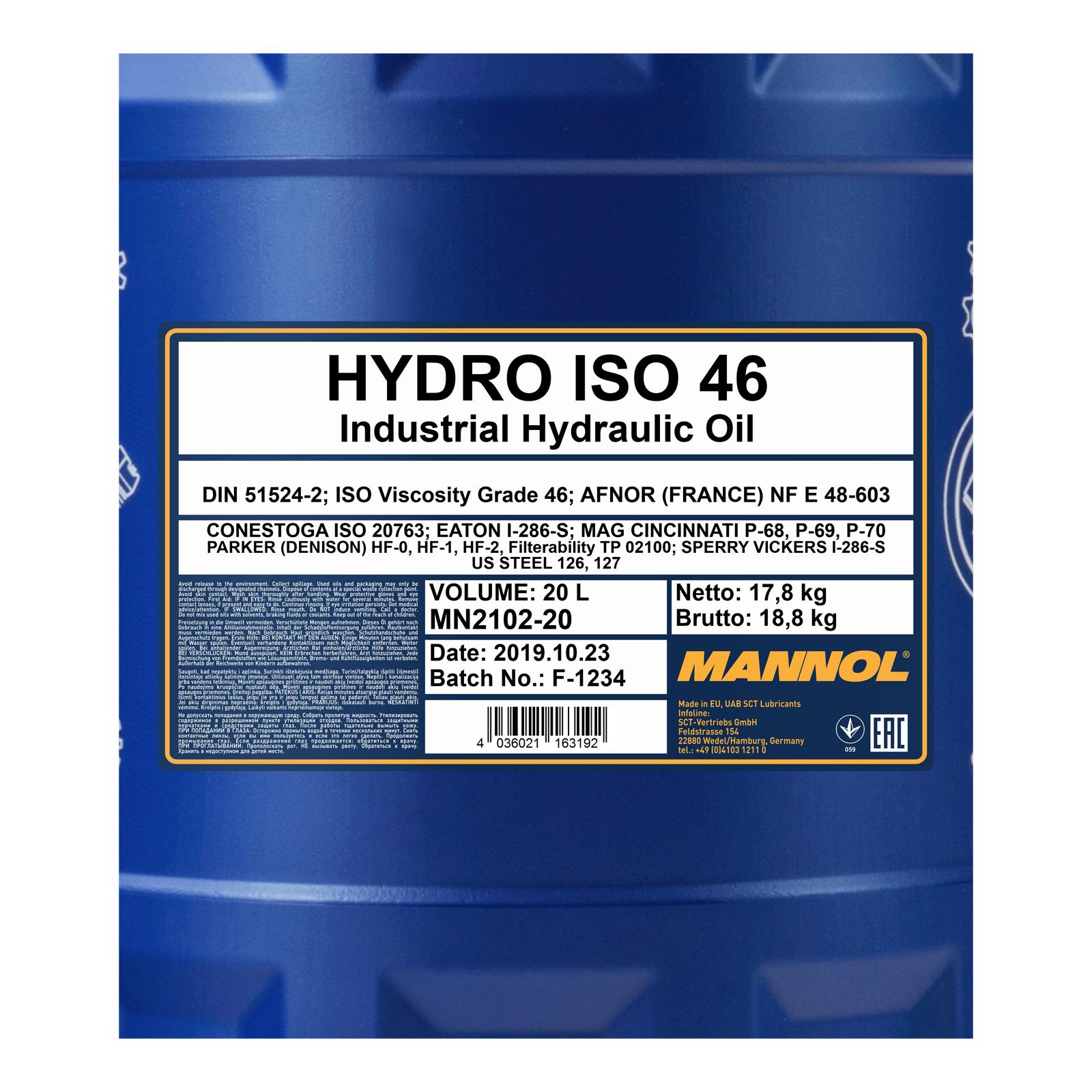 20L Mannol Motoröl Hydro ISO 46
