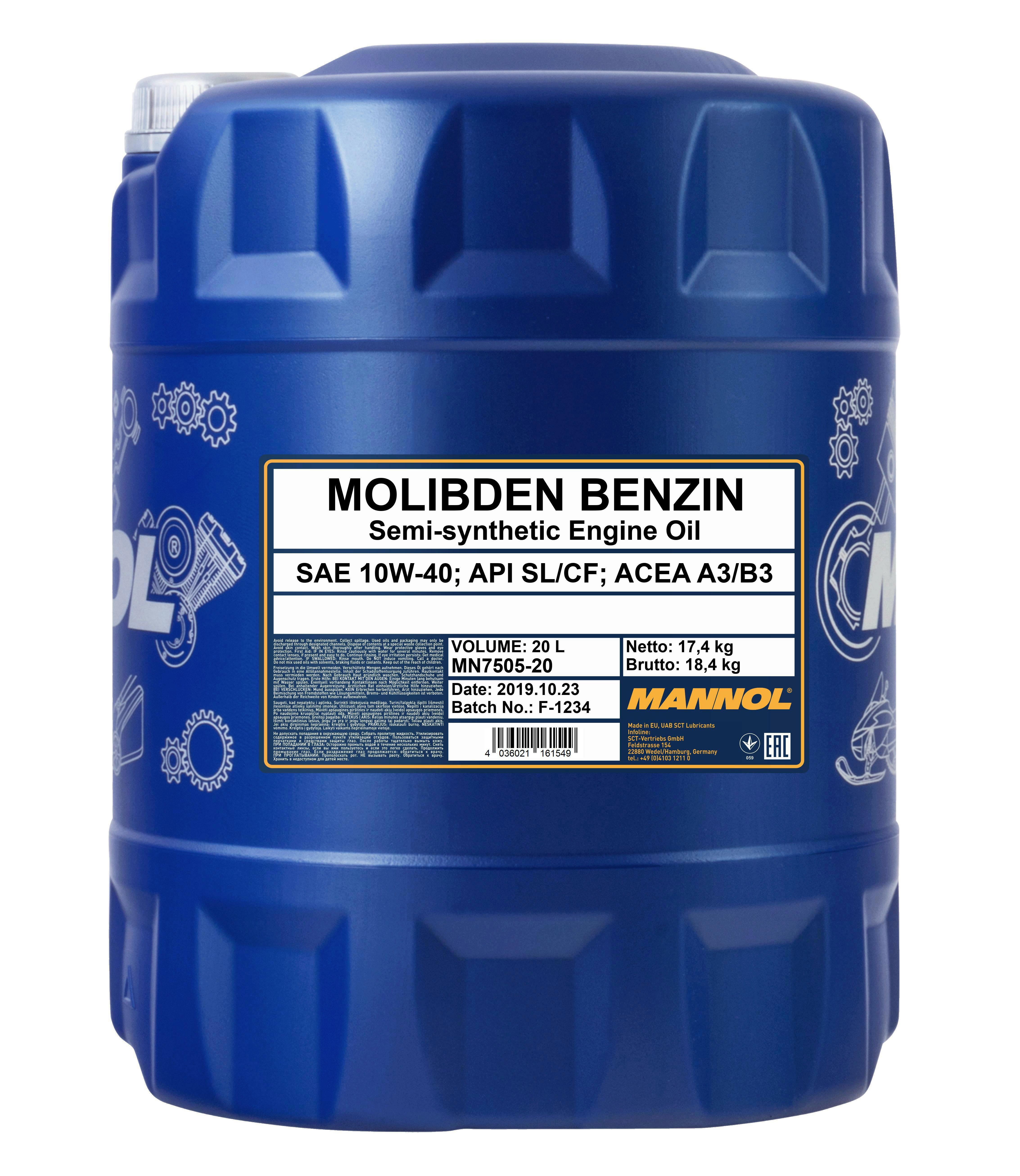 Motoröl MN Molibden Benzin 10W-40 20L