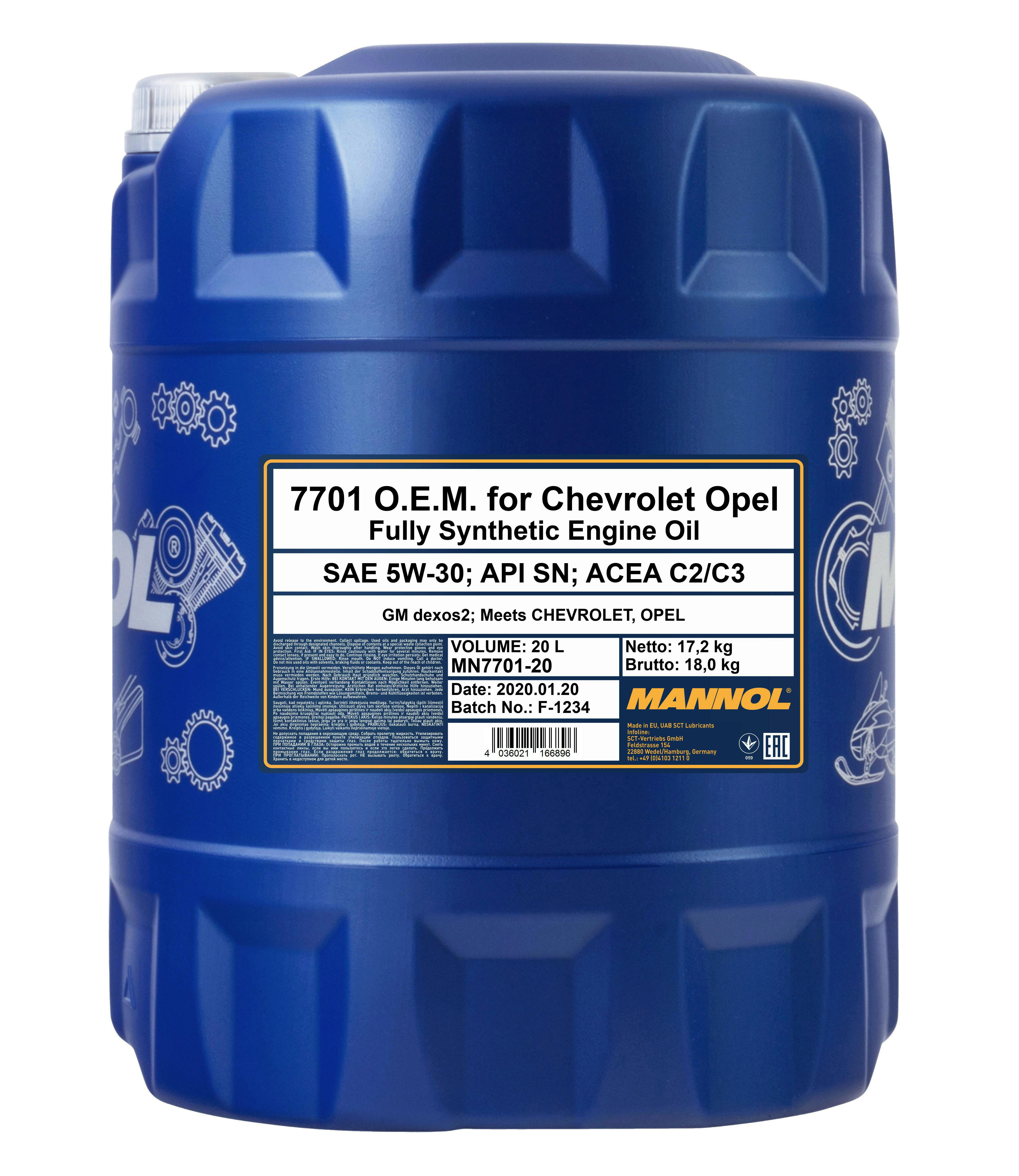 MANNOL MN7701-20 O.E.M. 5W-30 20 Liter Dexos2