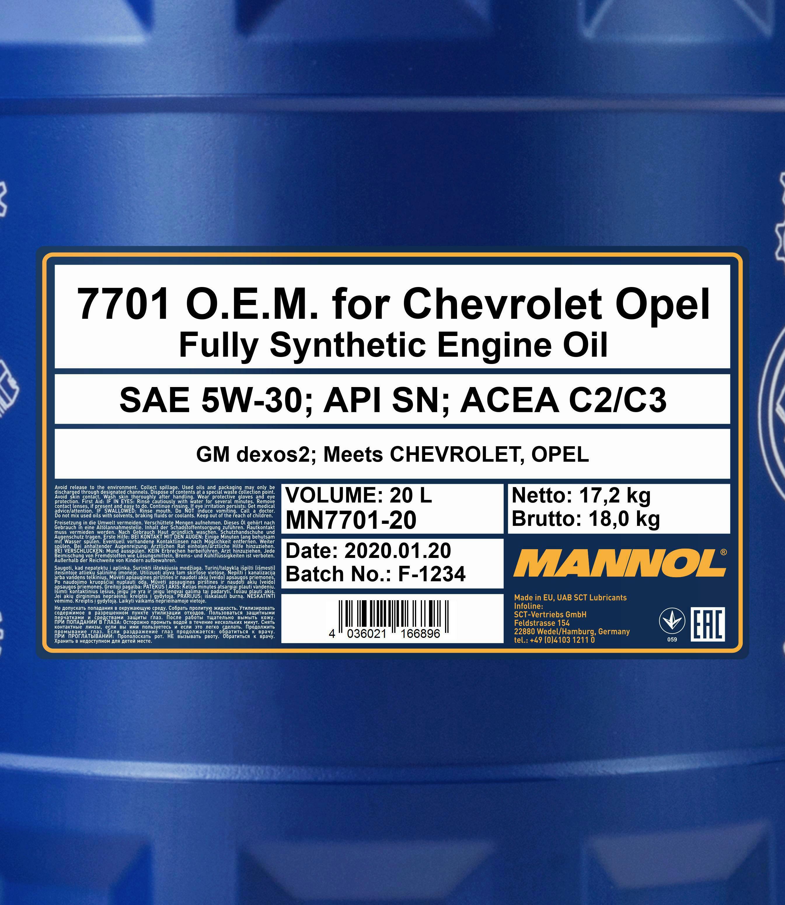20L Mannol O.E.M Motoröl 5W-30 Dexos 2