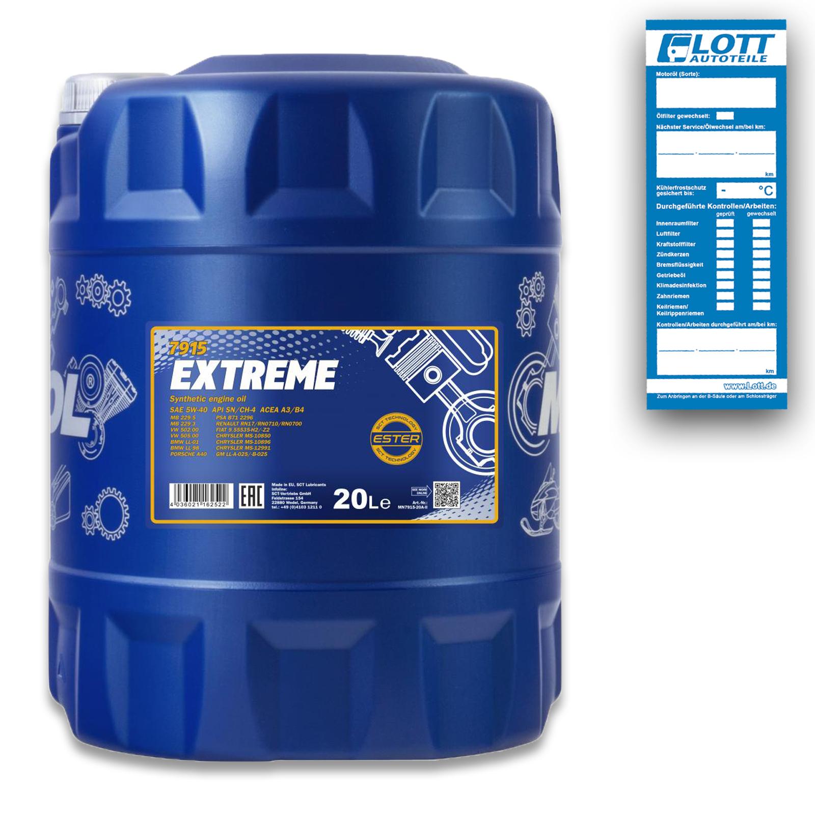 MANNOL Motoröl Extreme 5W-40 20L