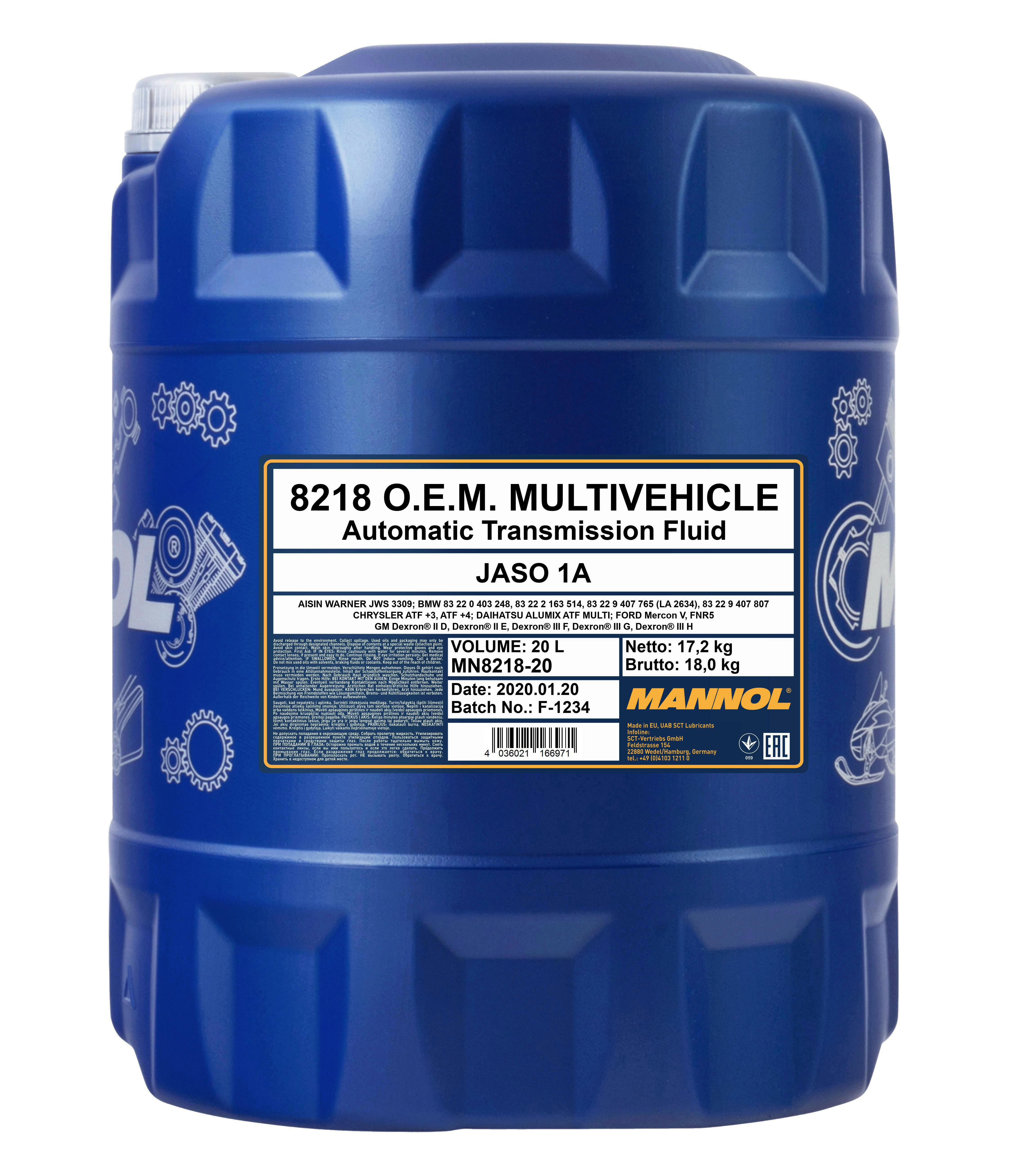 Mannol Automatikgetriebeöl ATF Multivehicle 20L