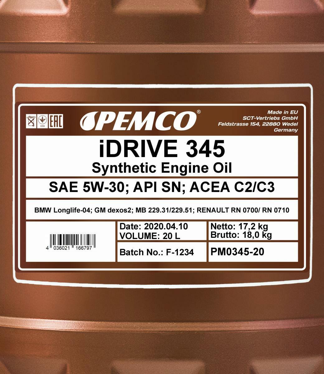 Pemco iDrive 345 5W-30 Motoröl 20L