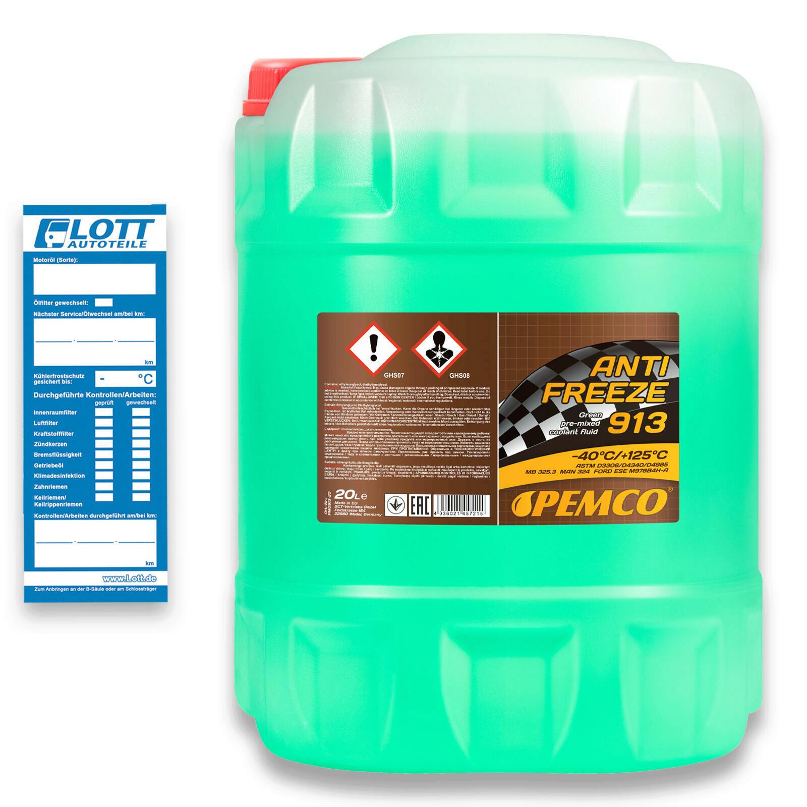 20L PEMCO Kühlerfrostschutz AG13 grün Fertiggemisch