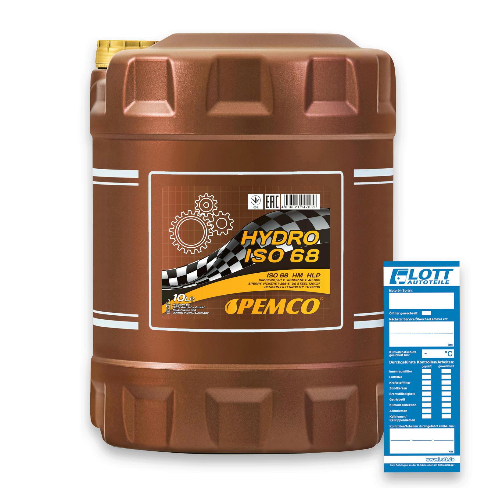10L Pemco Hydrauliköl ISO 68