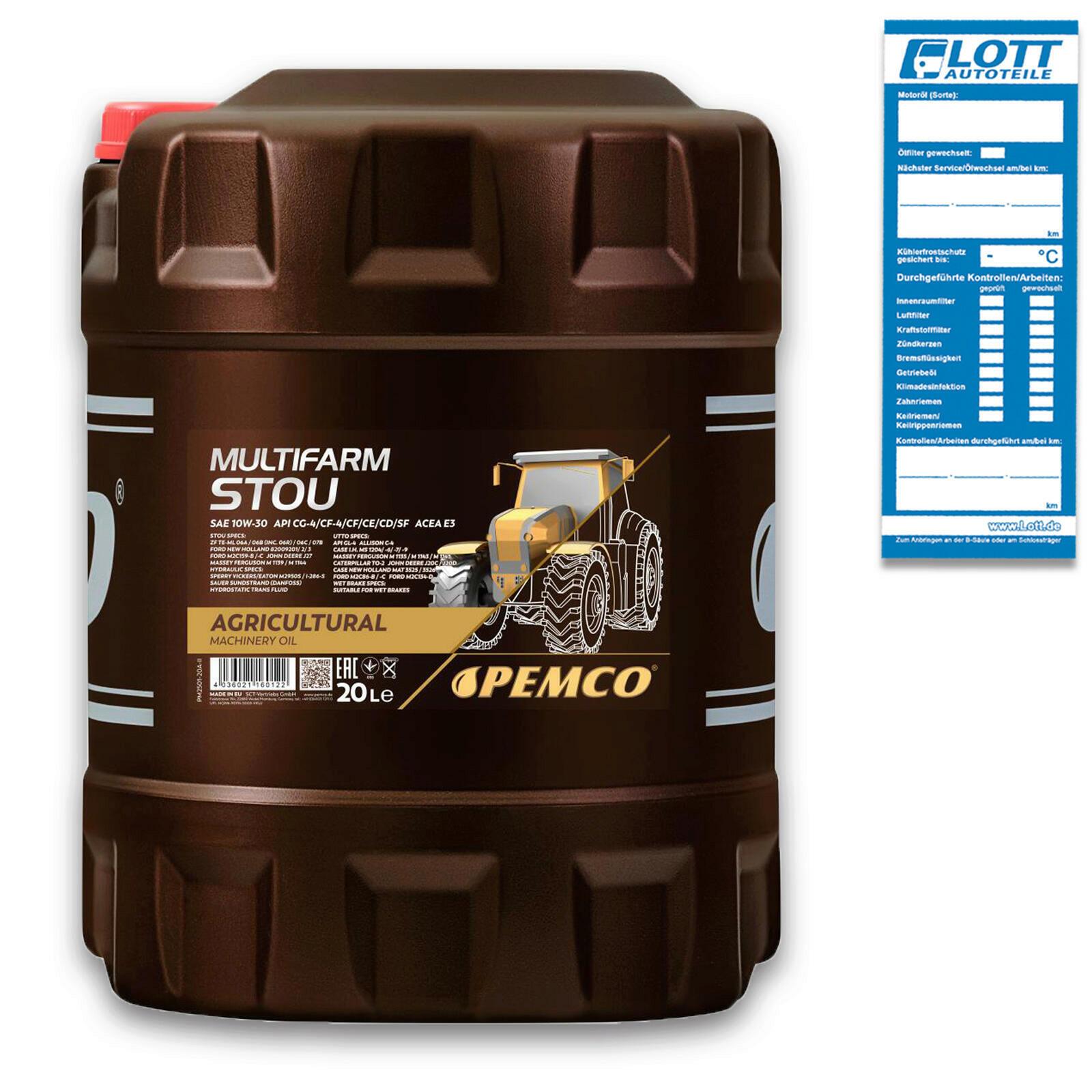 20L Pemco Multifarm STOU 10W-30 Motoröl