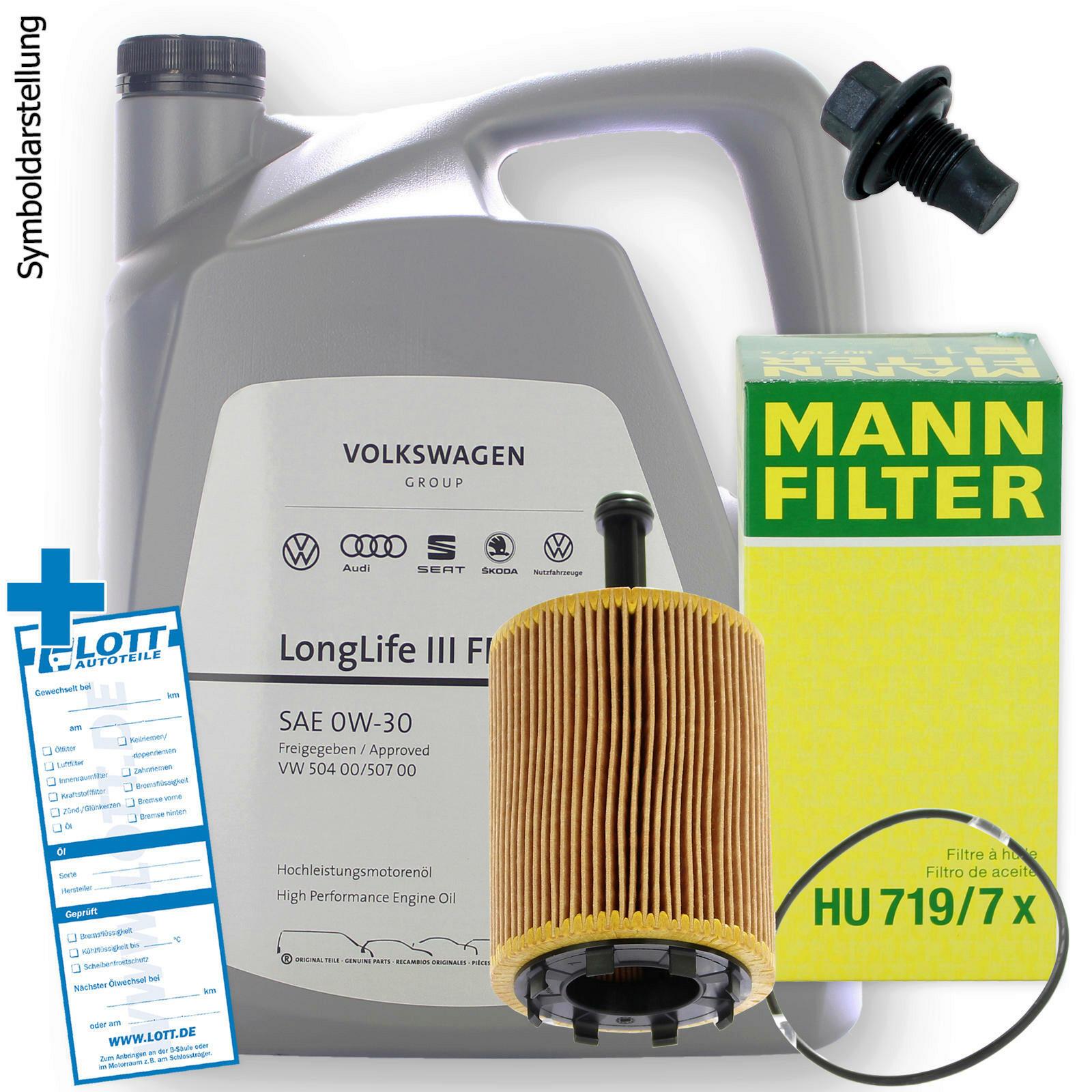Ölwechsel Set VW 0W-30 Motoröl + Ölfilter + Ablassschraube