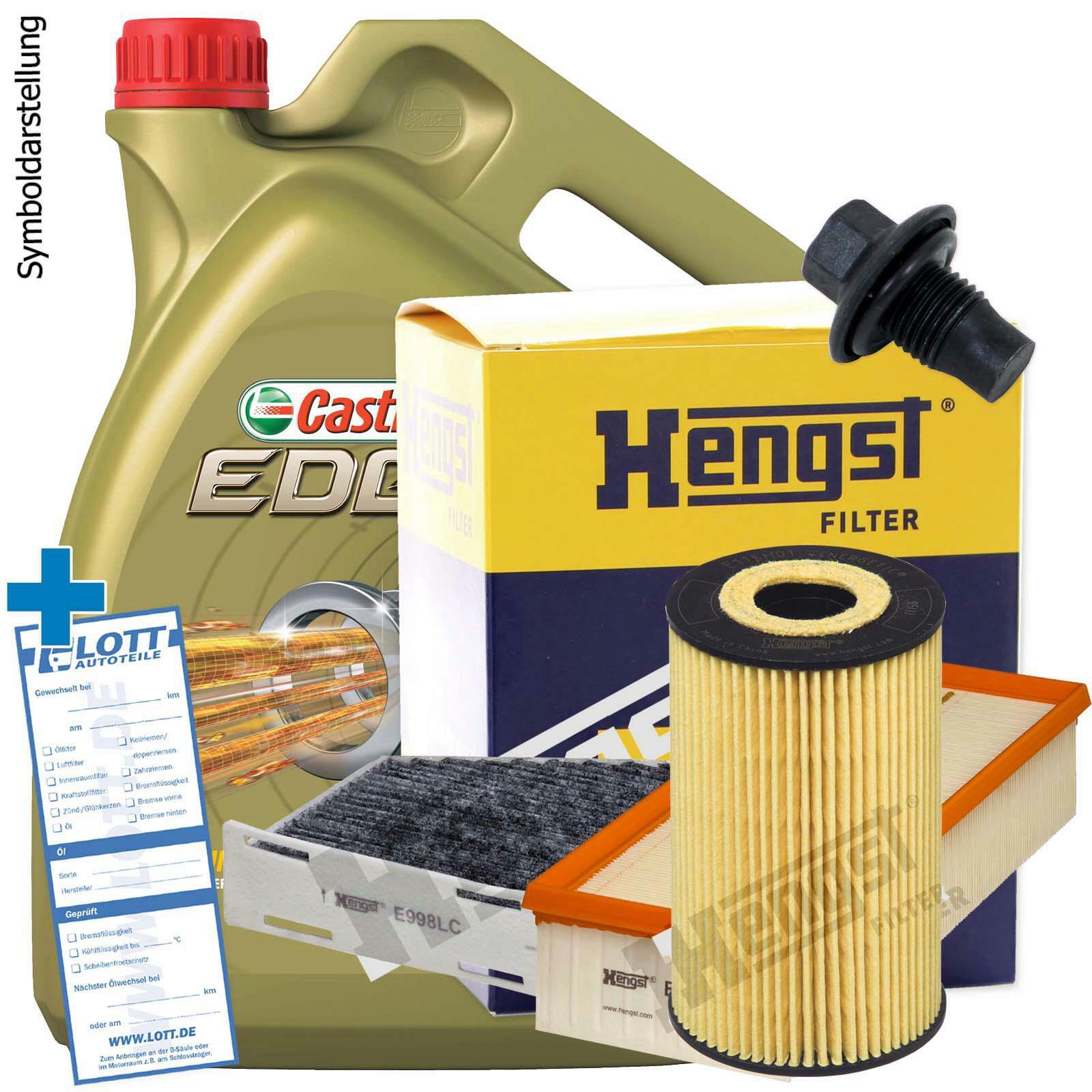 Castrol Motoröl + Ölfilter + Luftfilter + Innenraumfilter + Ablassschraube