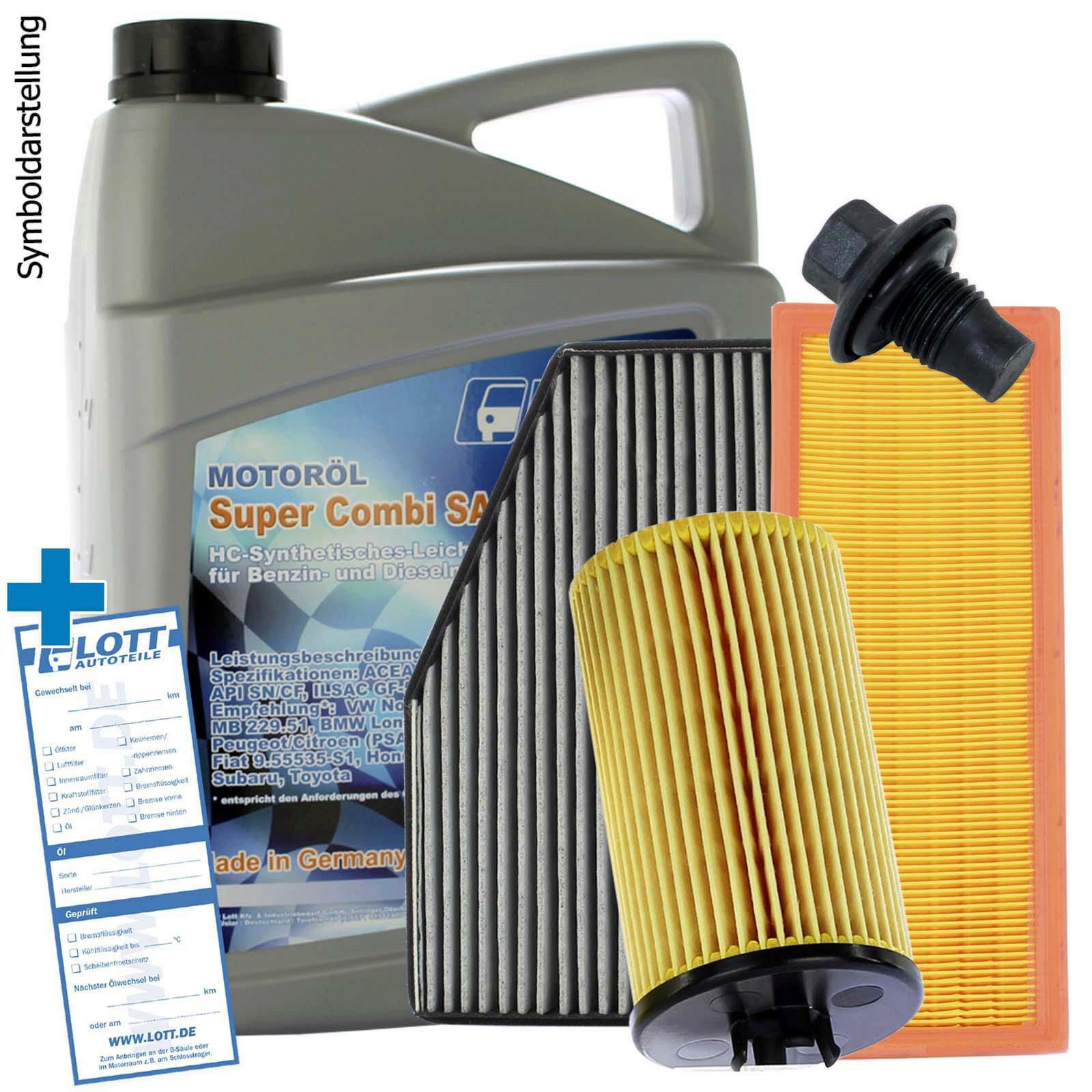 Lott Motoröl + Ölfilter + Luftfilter + Innenraumfilter + Ablassschraube