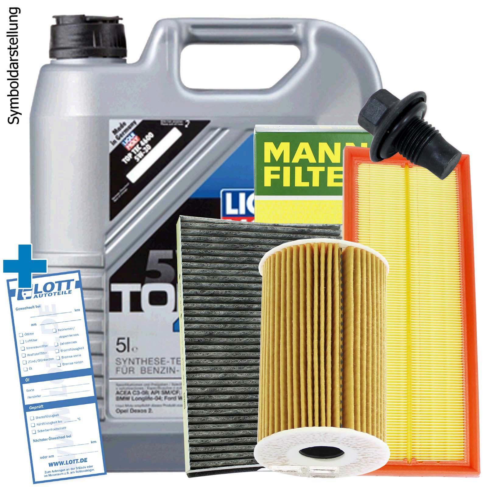 Liqui Moly Motoröl + Ölfilter + Luftfilter + Innenraumfilter + Ablassschraube
