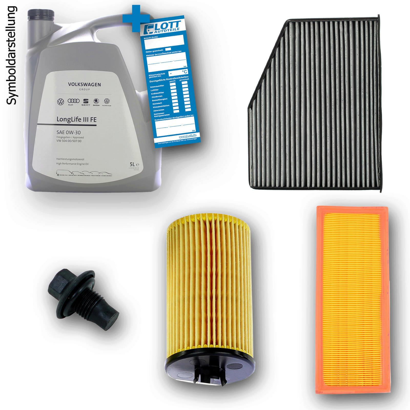 VW Motoröl + Ölfilter + Luftfilter + Innenraumfilter + Ablassschraube
