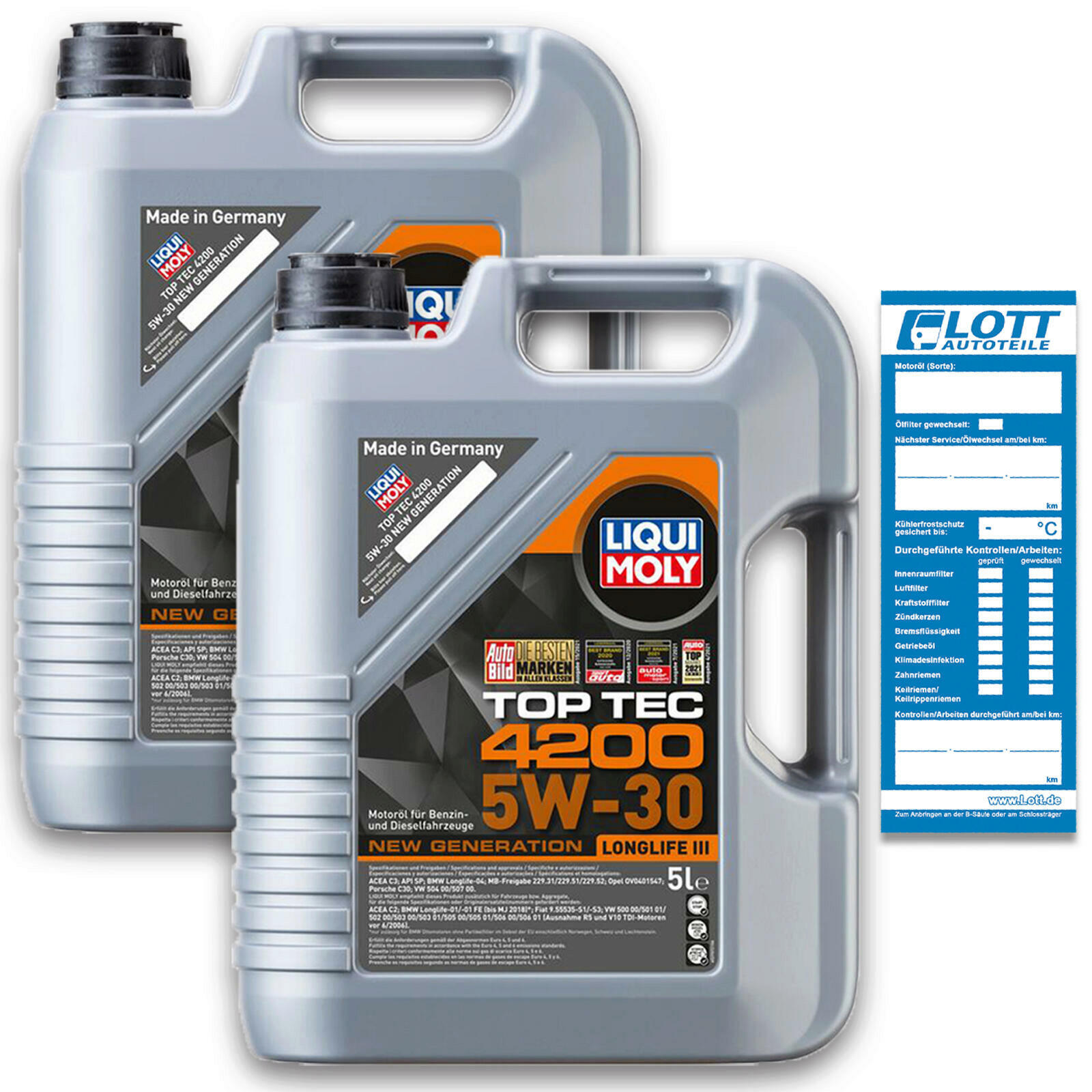 2x 5 Liter Original LIQUI MOLY Motoröl Top Tec 4200 5W30