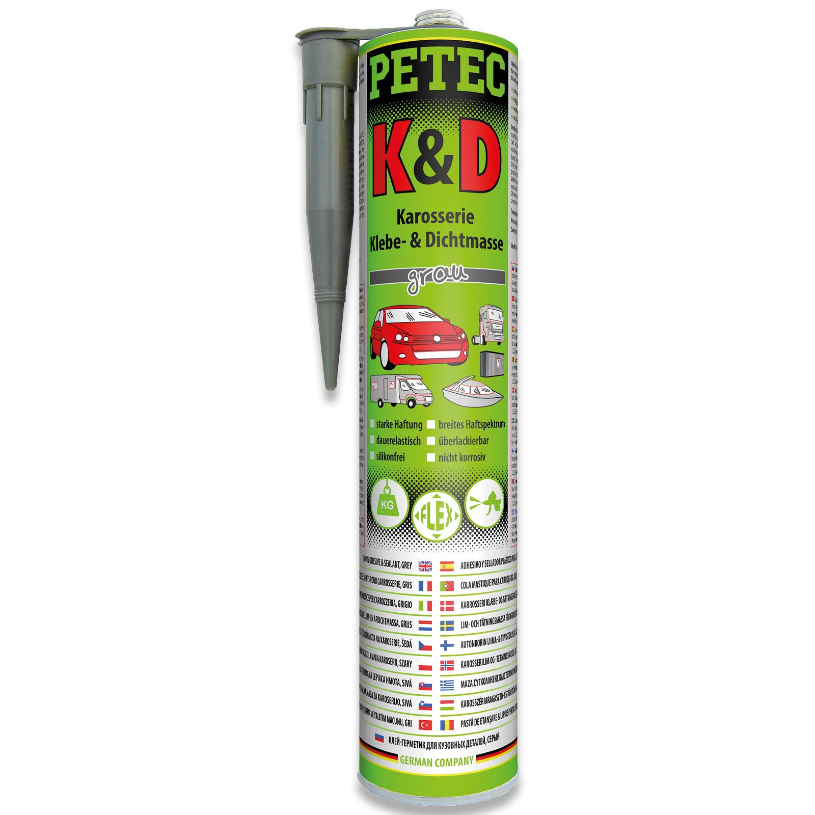 PETEC K & D Karosserie Klebe- und Dichtmasse grau 310ml