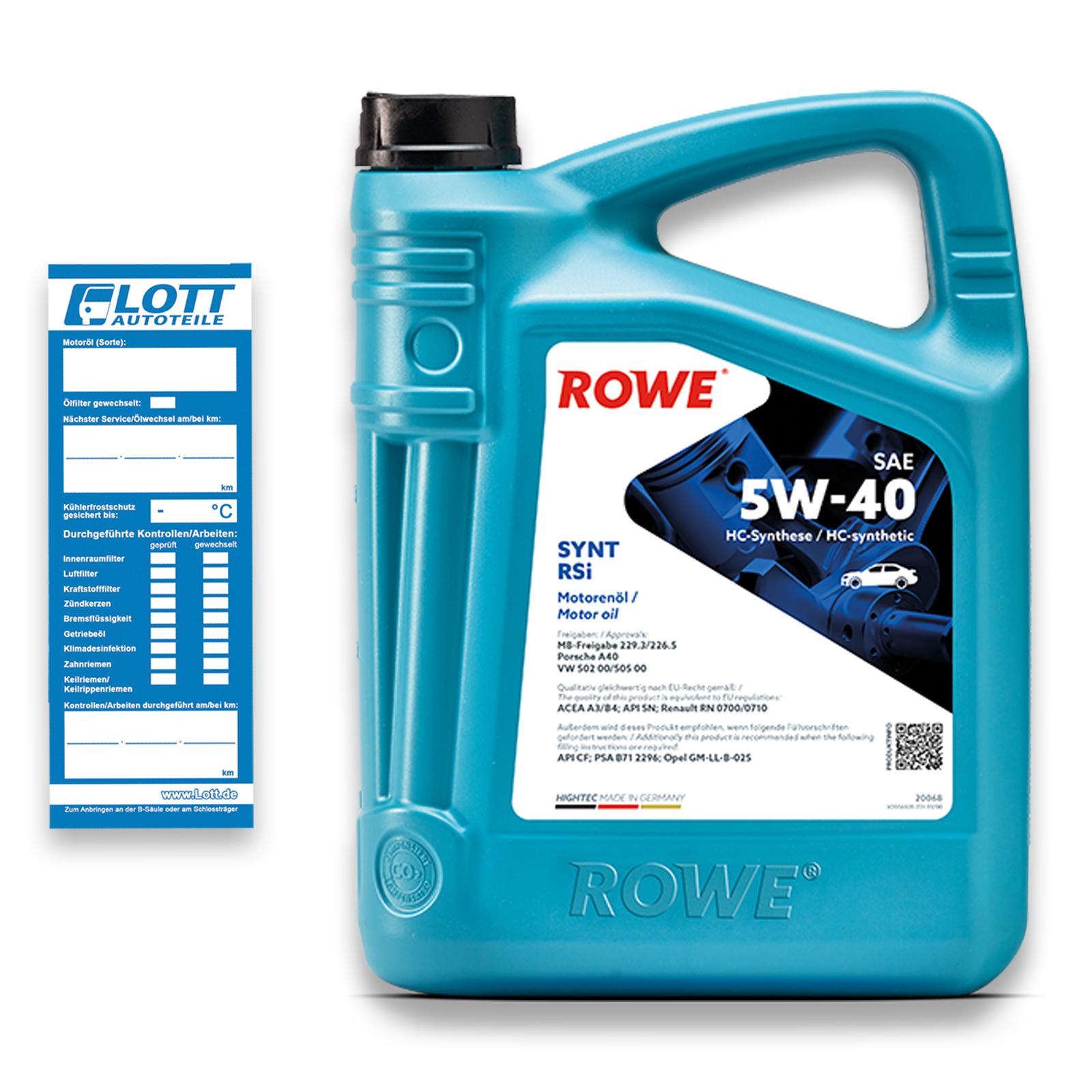 5L Rowe Motoröl HIGHTEC SYNT RSi 5W-40