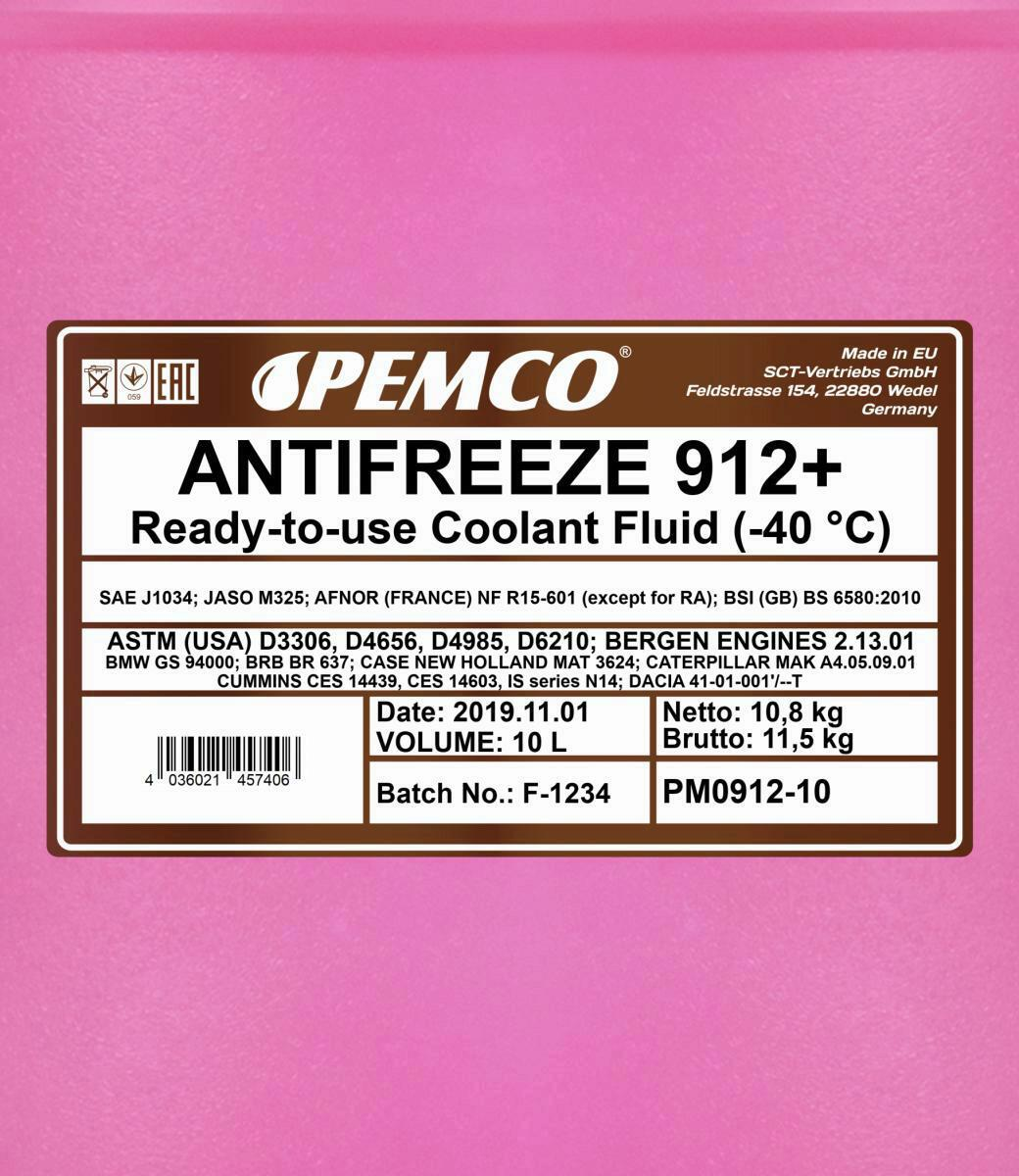 10L Pemco Frostschutz ANTIFREEZE 912+