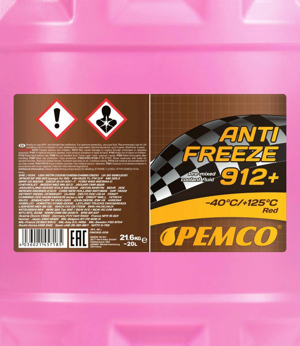 20L Pemco Frostschutz ANTIFREEZE 912+