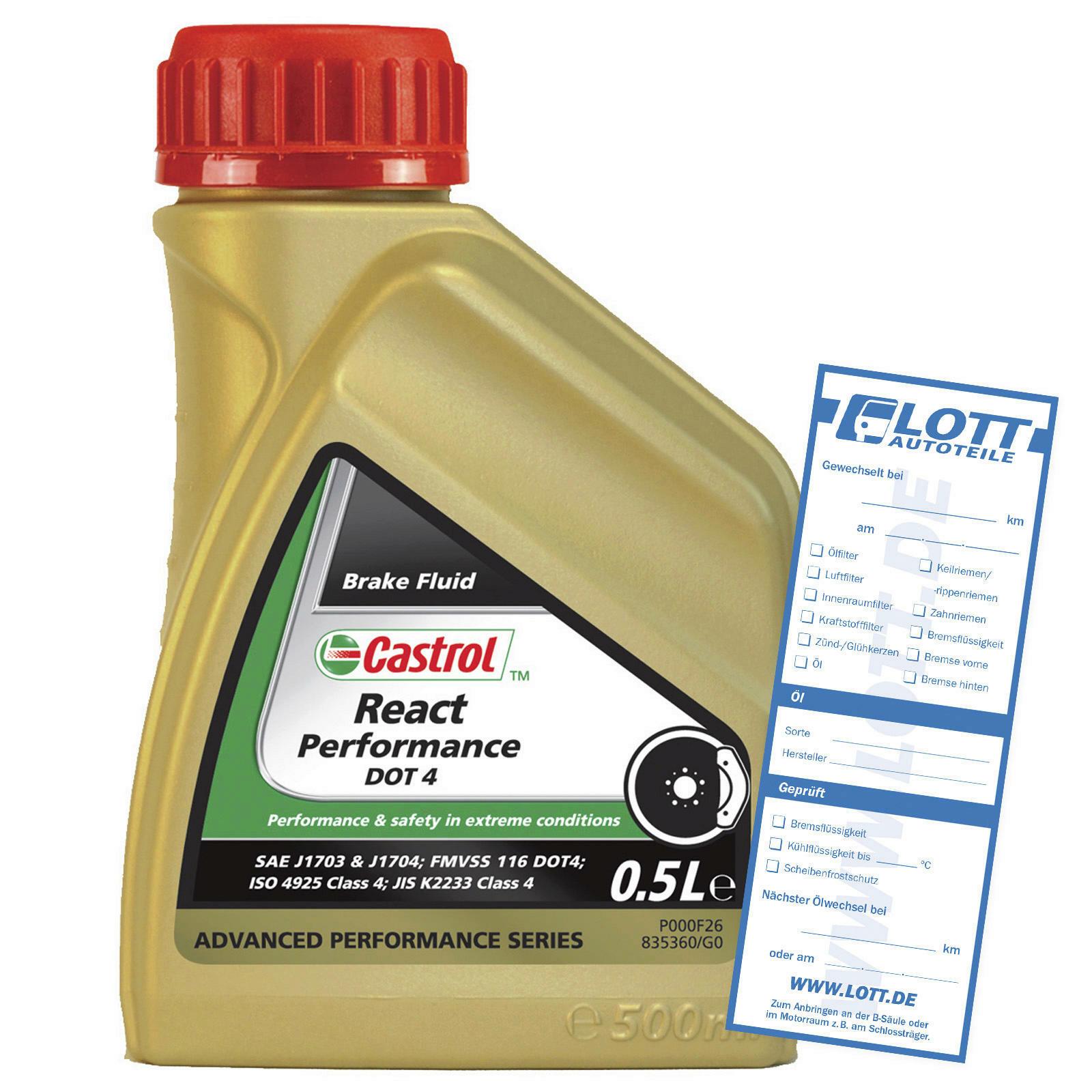 CASTROL Bremsflüssigkeit React Performance DOT 4 500ml