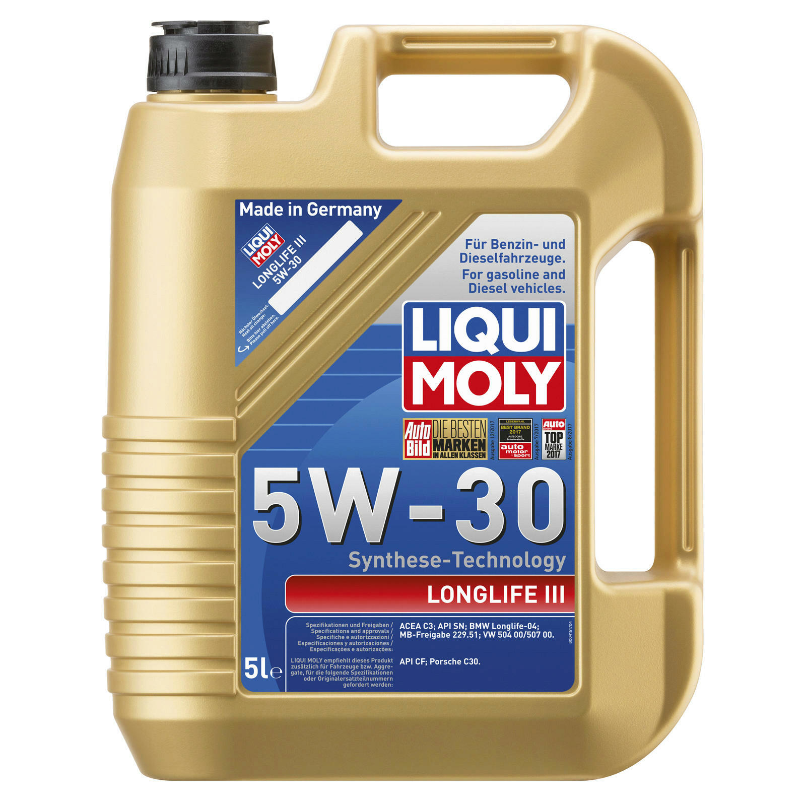 liqui moly motor l longlife iii 5w 30 5l 20647 ww405726. Black Bedroom Furniture Sets. Home Design Ideas