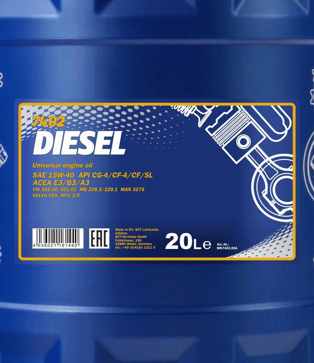 Mannol Diesel 15W-40 Motoröl 20L