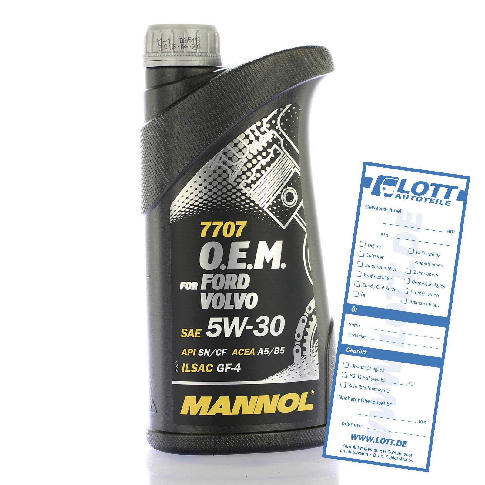 Mannol Motoröl 1 Liter 5W30 für Ford,Opel und Volvo Motoren