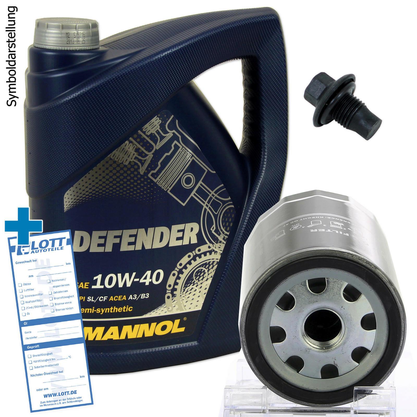 Ölwechsel Set 5 Liter 10W40 Öl Motoröl + Ölfilter + Ablassschraube