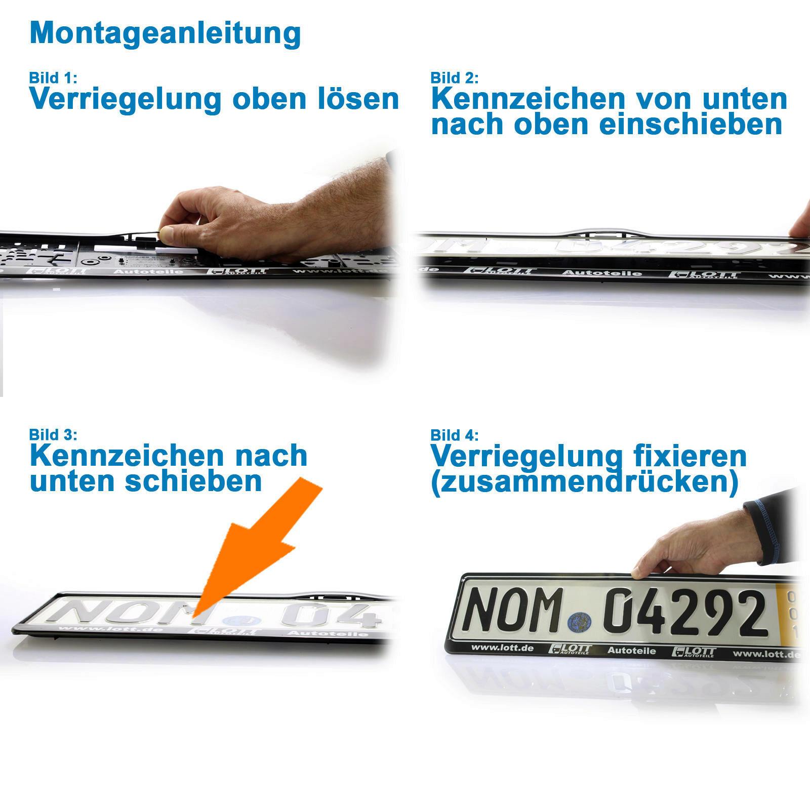 2x KENNZEICHENHALTER WWW.LOTT.DE NUMMERNSCHILD VW AUDI SEAT SKODA ...