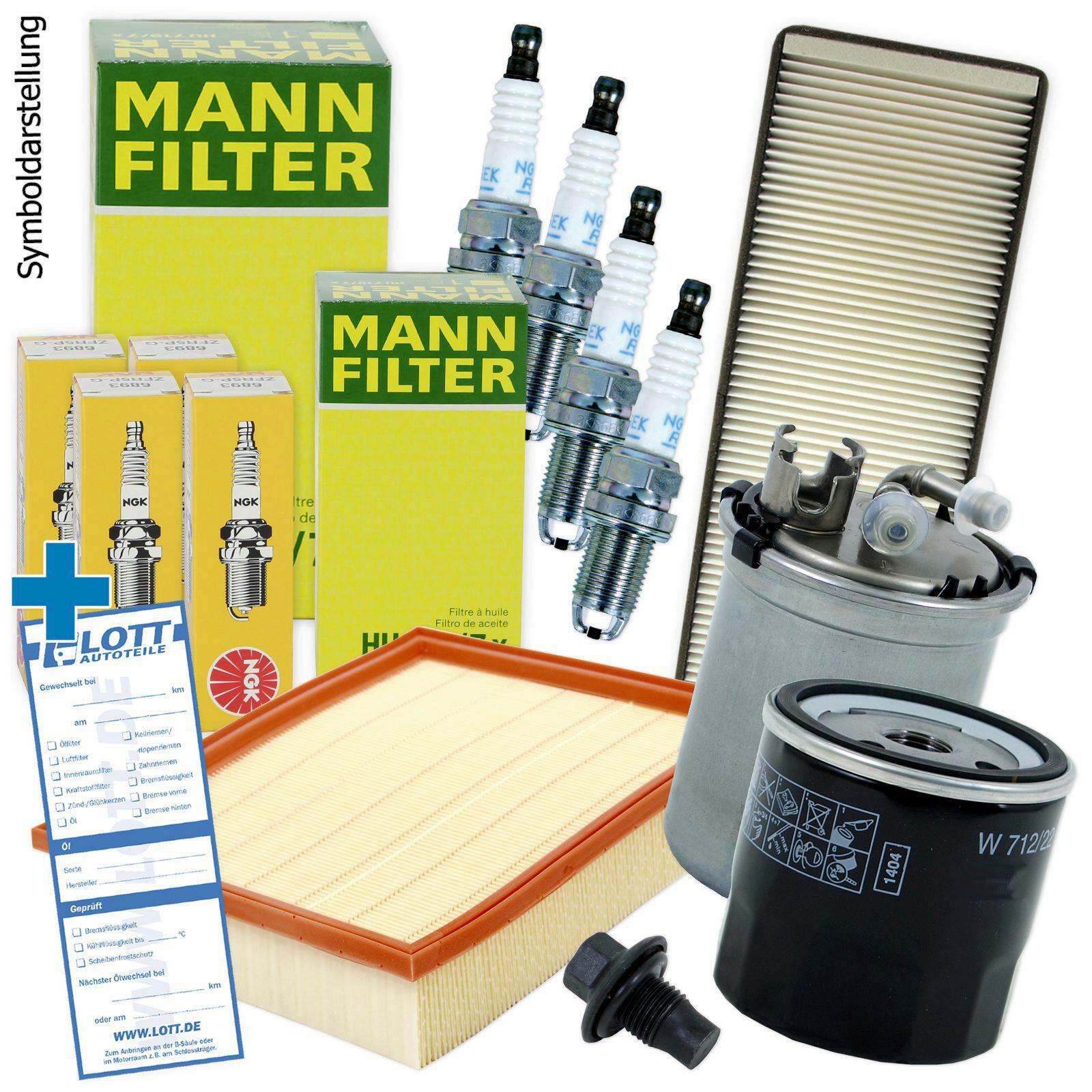 LUFTFILTER + ÖLFILTER + INNENRAUMFILTER + KRAFTSTOFFFILTER + ZÜNDKERZEN
