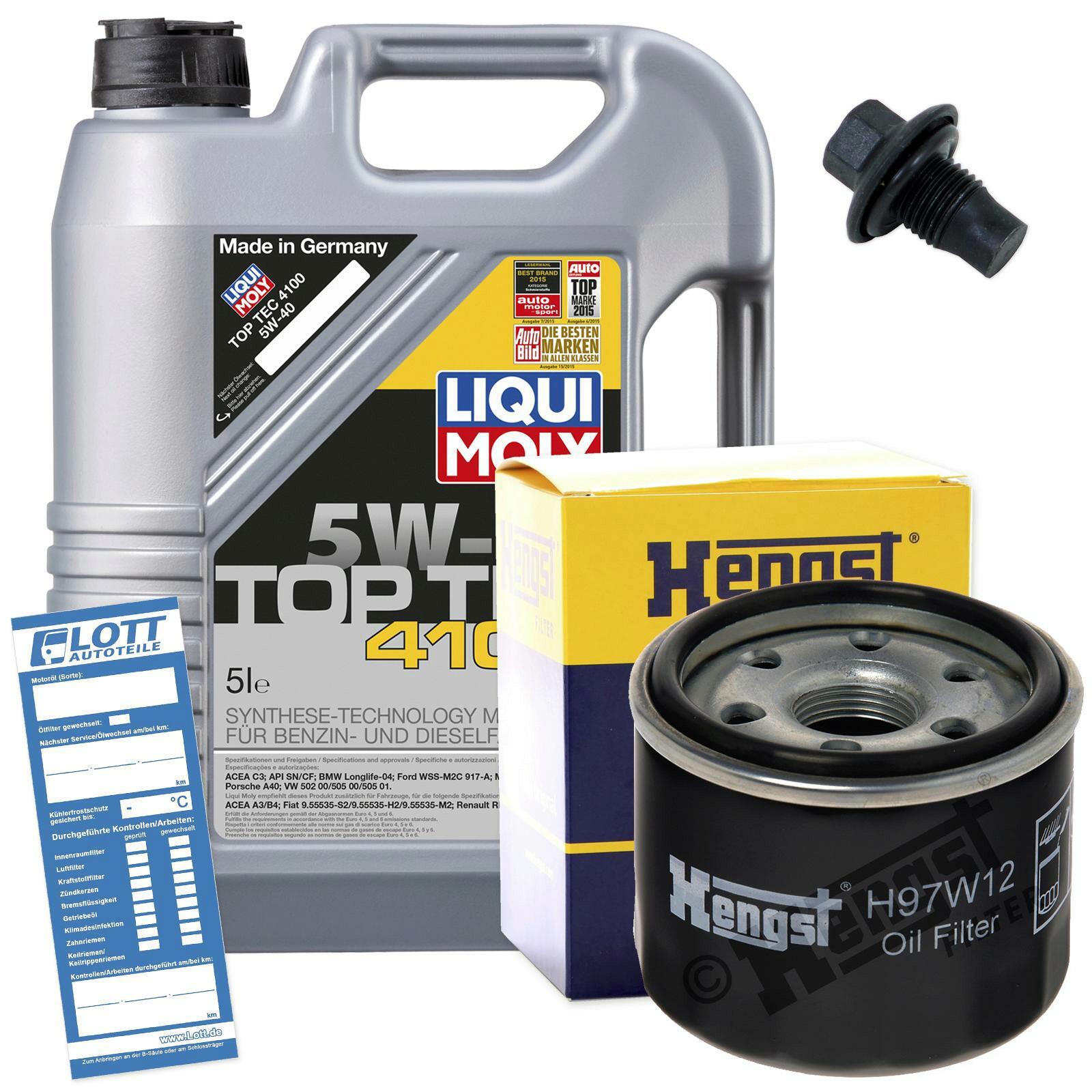 Ölwechsel Set 5L 5W40 Öl Motoröl LIQUI MOLY + HENGST Ölfilter + Ablassschraube