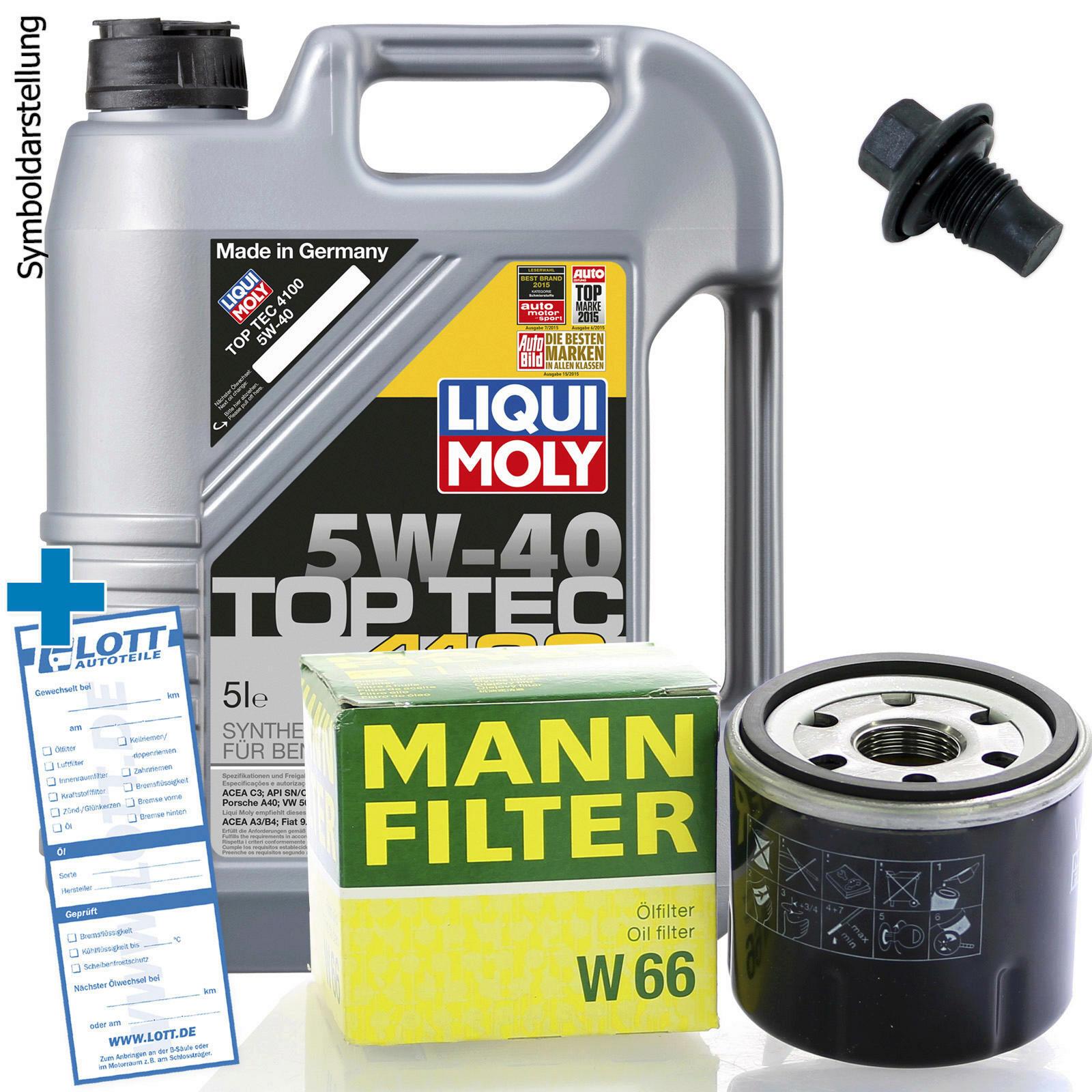 Ölwechsel Set 5L 5W40 Öl Motoröl LIQUI MOLY + MANN Ölfilter + Ablassschraube
