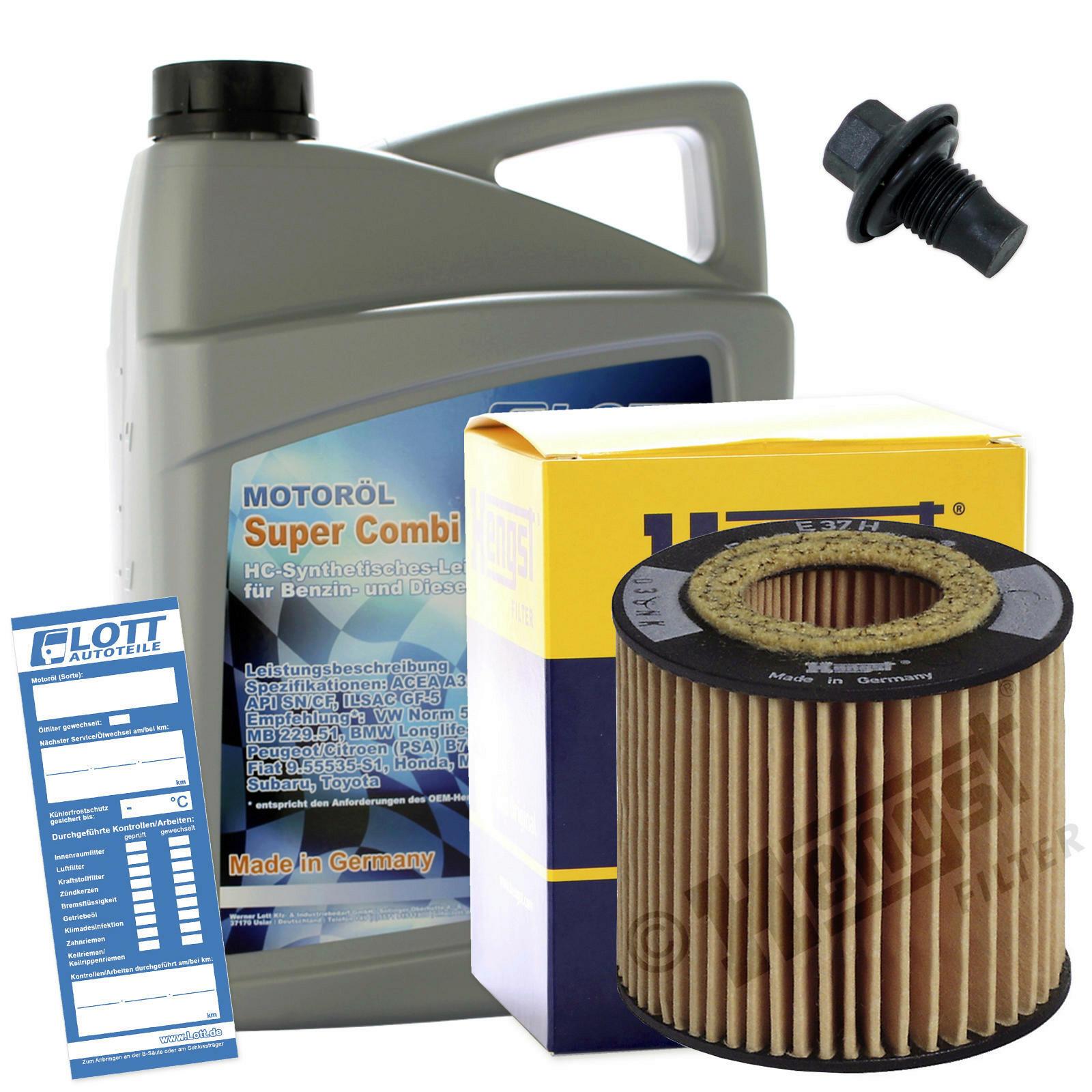 Ölwechsel Set Hengst Ölfilter + Lott Motoröl + Ablassschraube