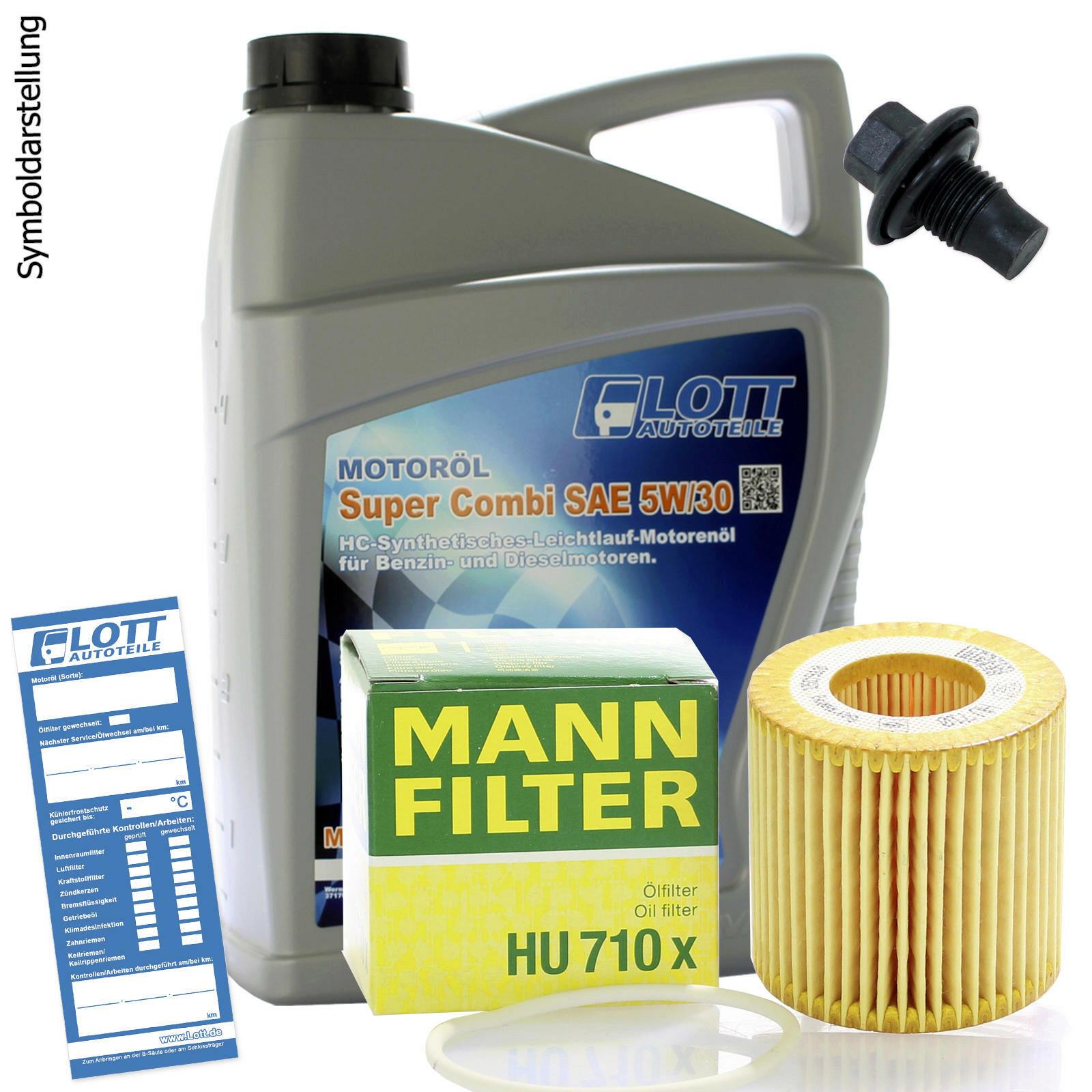 Ölwechsel Set Mann Ölfilter + Lott Motoröl + Ablassschraube