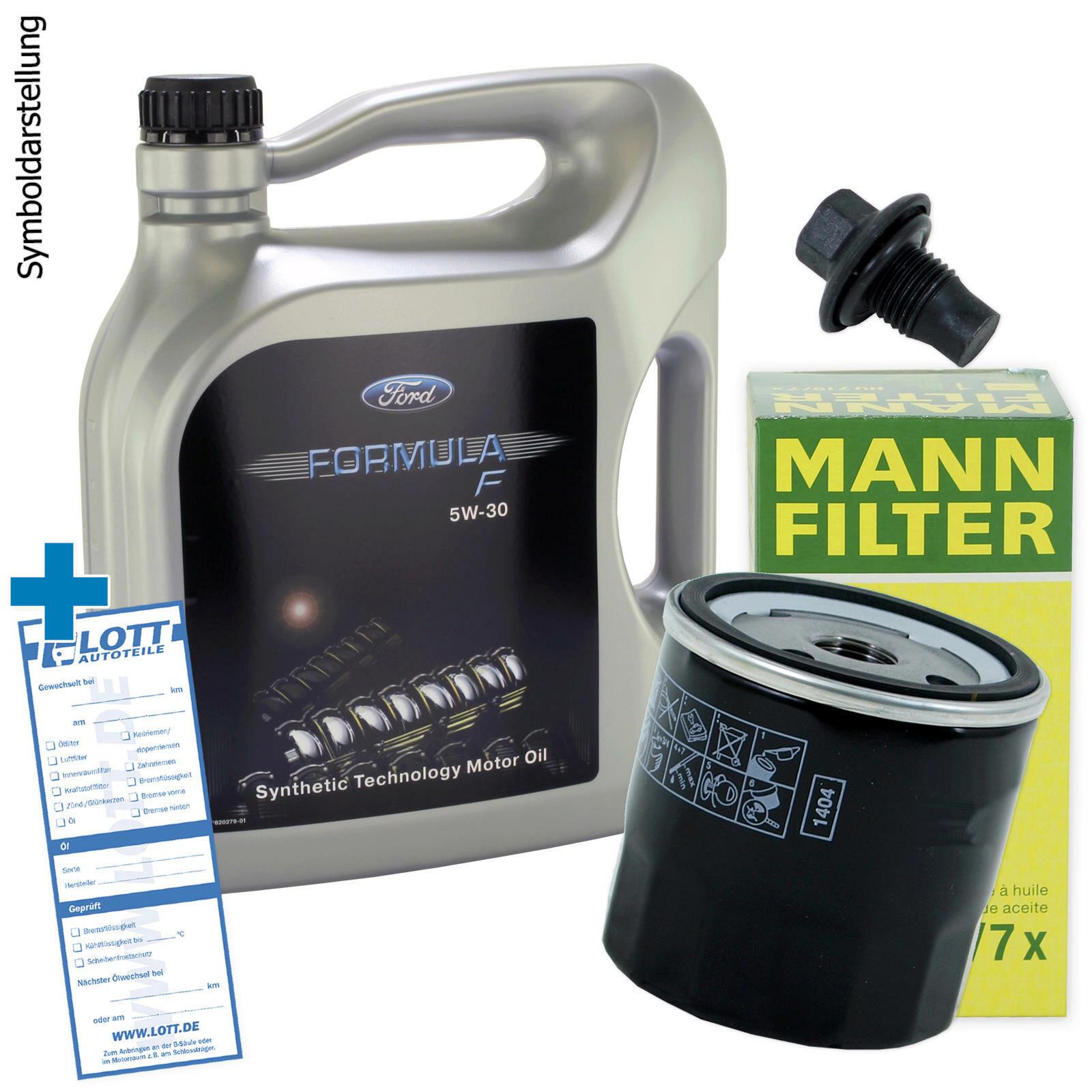 Ölwechsel Set Mann Ölfilter + Original Ford Motoröl + Ablassschraube