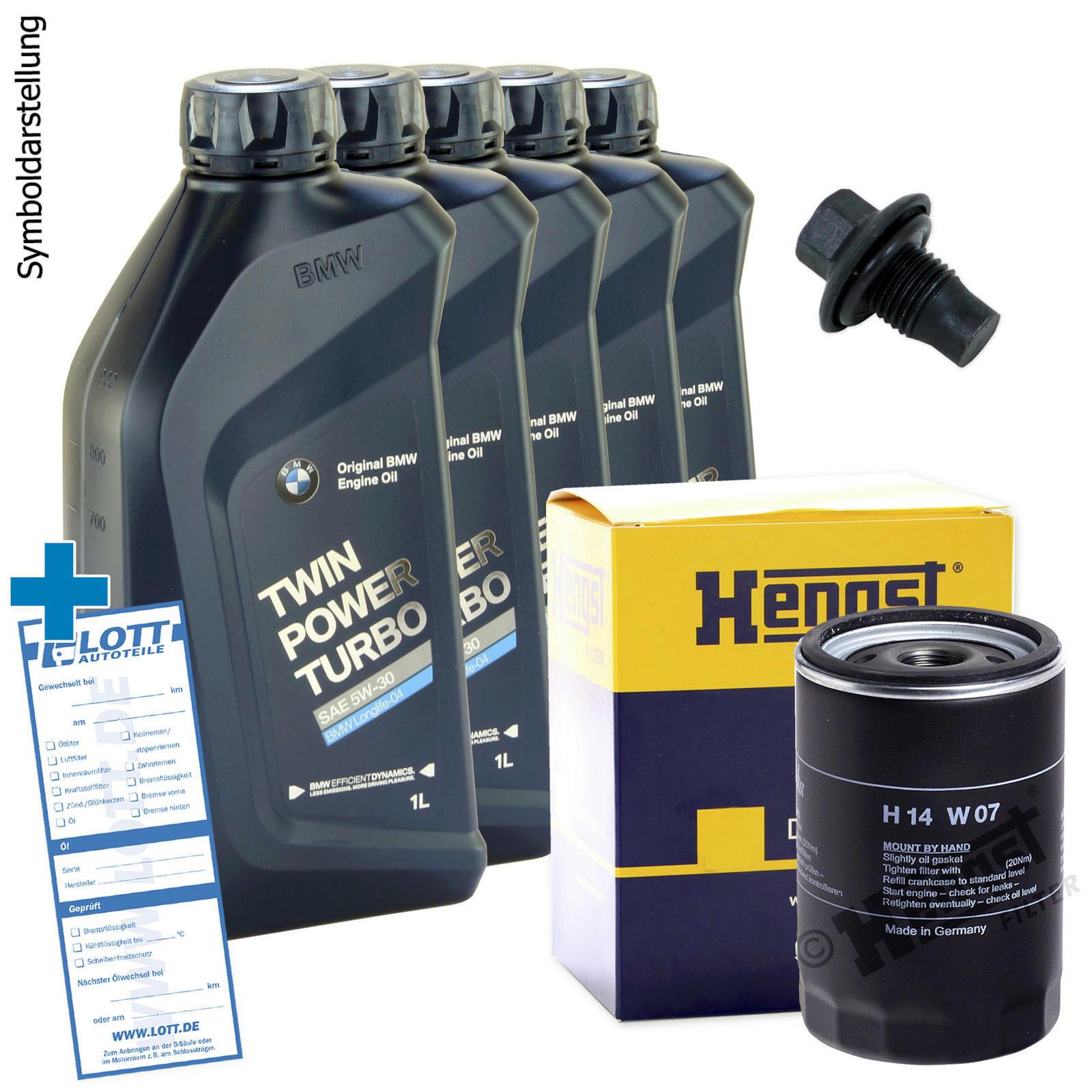 Ölwechsel Set 5L 5W-30 BMW Motoröl + Hengst Ölfilter + Ablassschraube