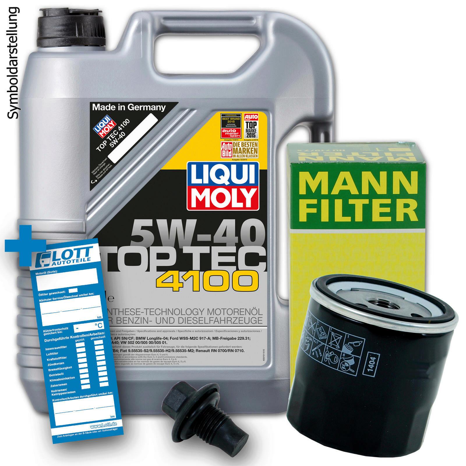 Ölwechsel Set 5L 5W40 Öl Motoröl LIQUI MOLY + MANN Ölfilter
