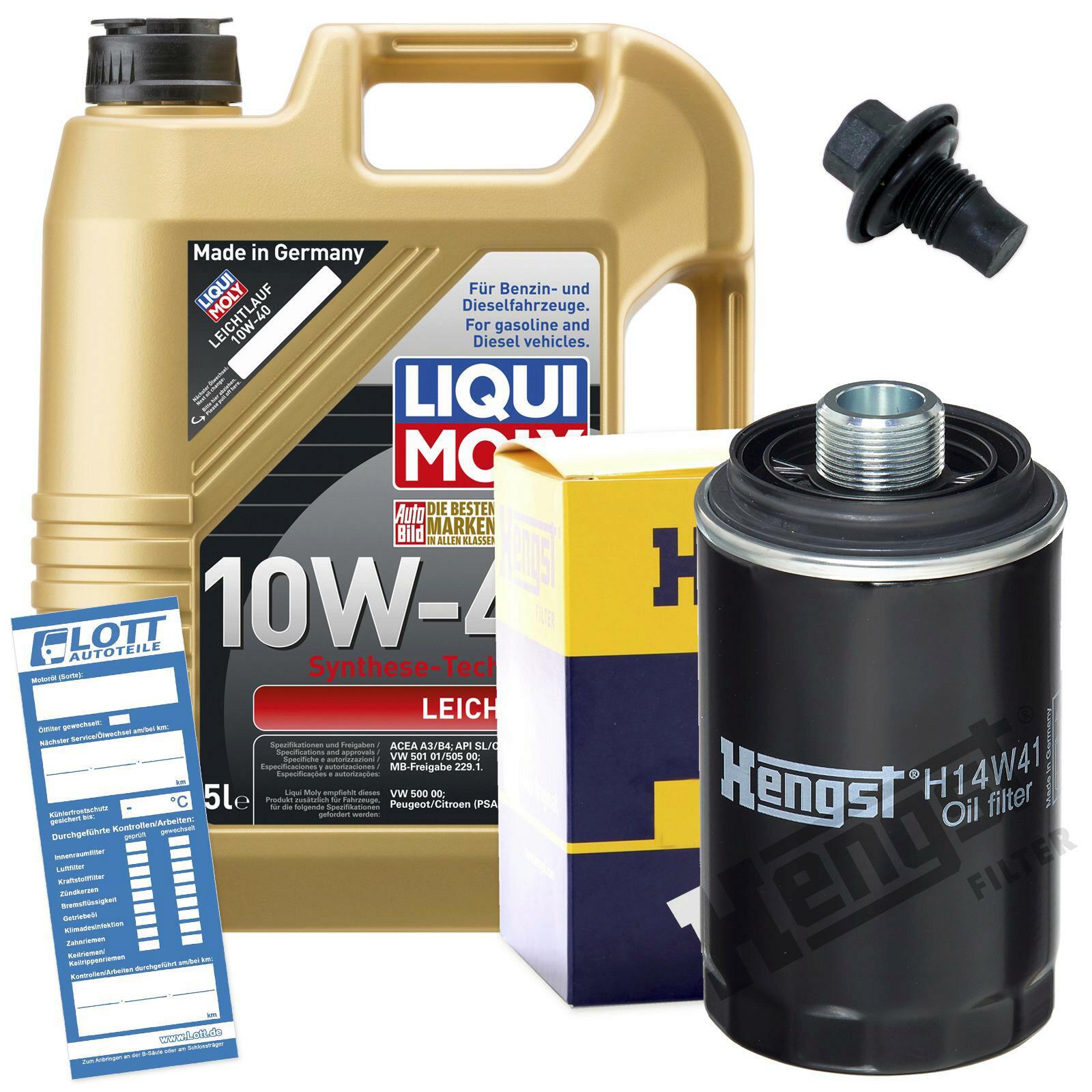 Ölwechsel Set 5L 10W40 Öl Motoröl LIQUI MOLY + HENGST Ölfilter