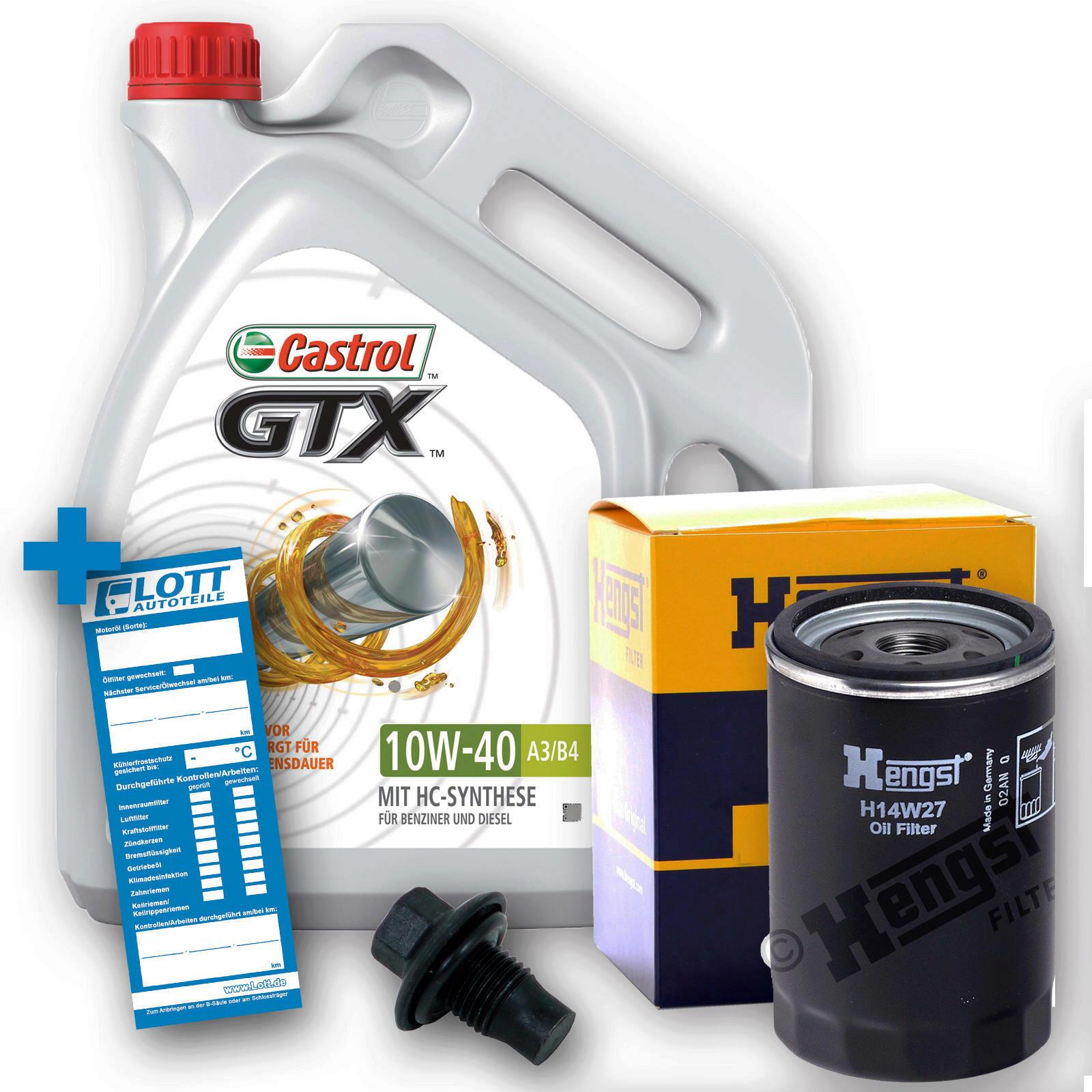 Ölwechsel Set 5L 10W40 Öl Motoröl Castrol + HENGST Ölfilter