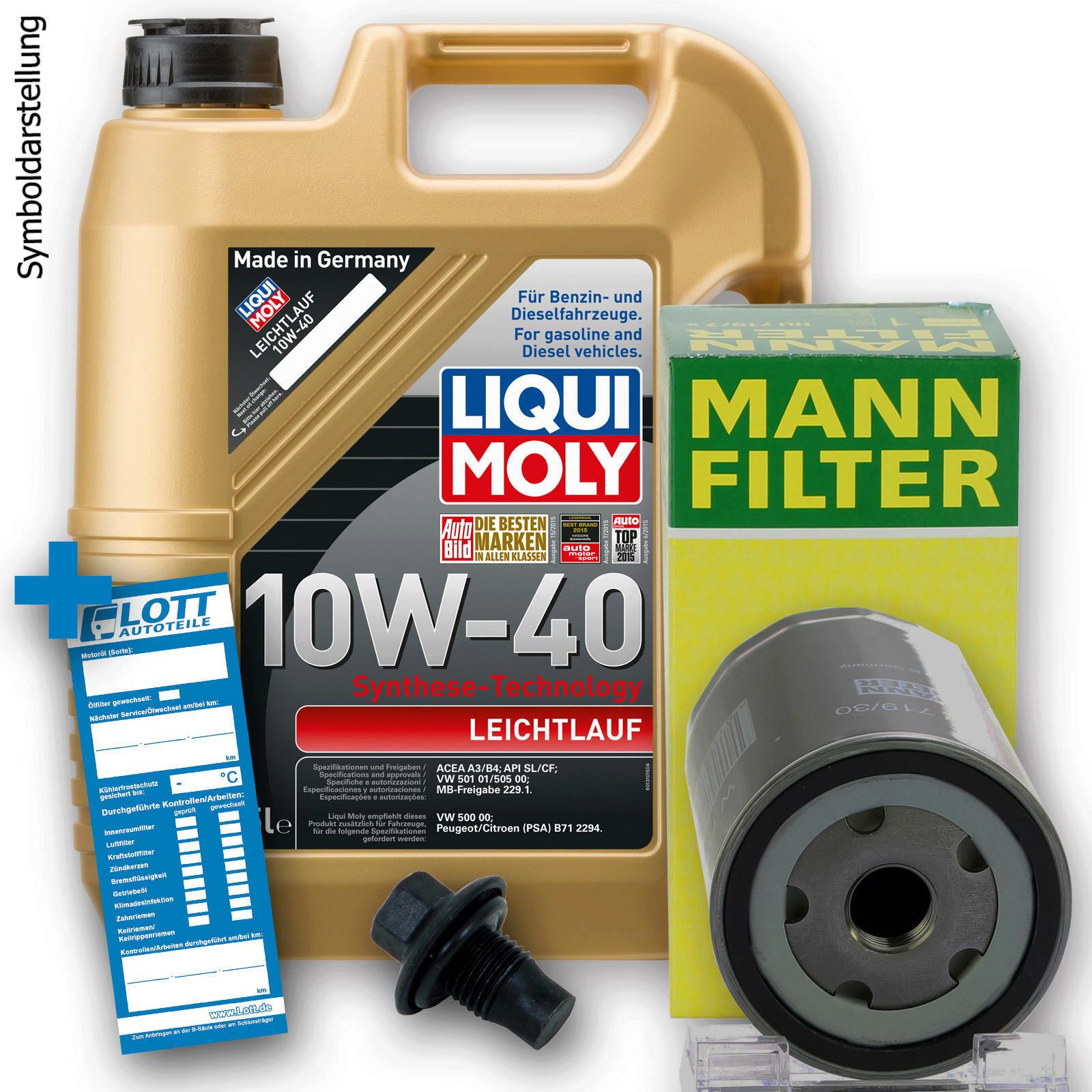 Ölwechsel Set 5L 10W40 Öl Motoröl LIQUI MOLY + MANN Ölfilter