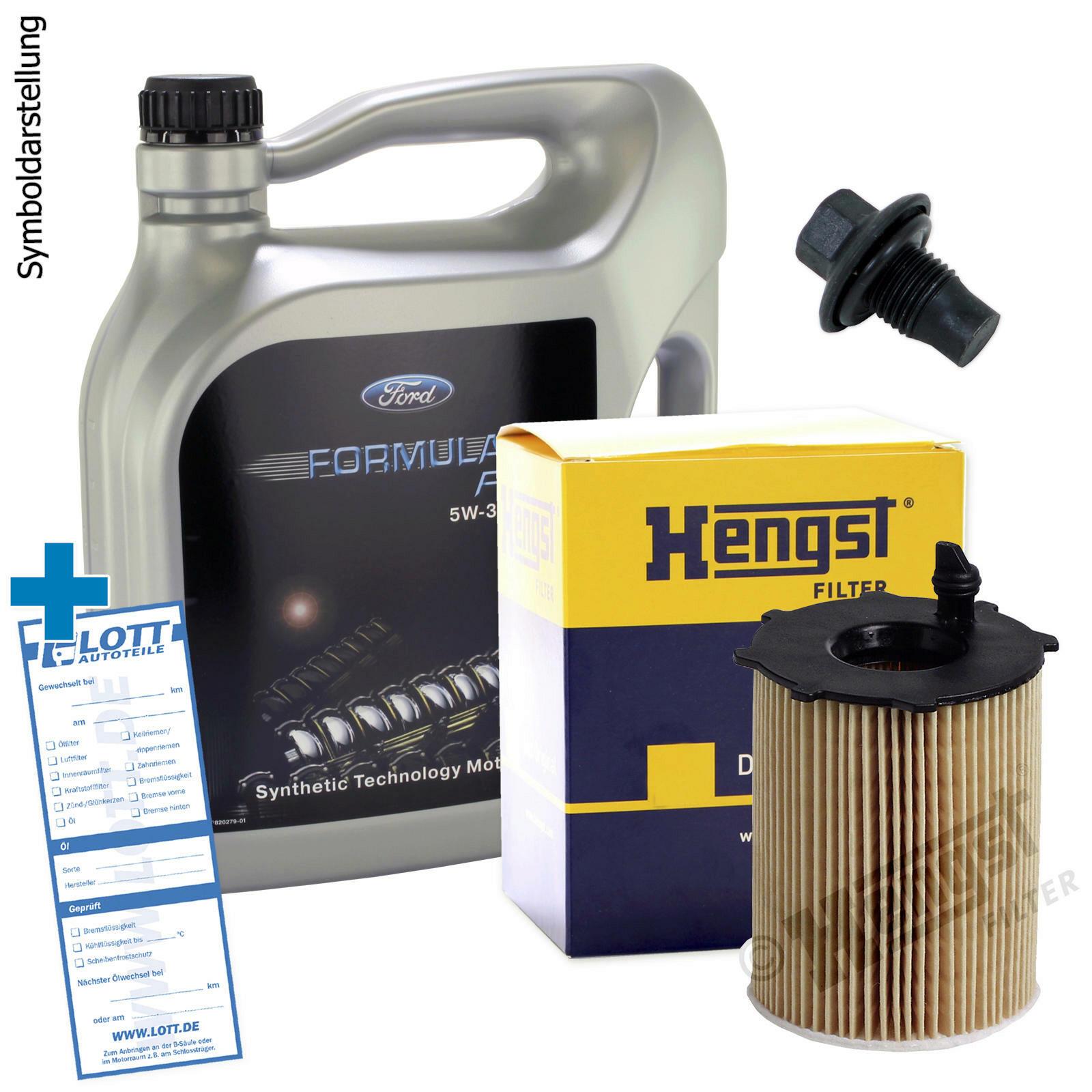 Ölwechsel Set 5L 5W-30 Ford Motoröl + Hengst Ölfilter + Ablassschraube