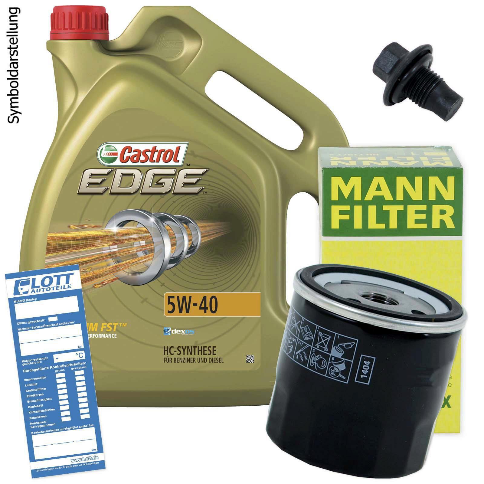 Ölwechsel Set 5L 5W-40 Öl Motoröl CASTROL + MANN Ölfilter + Ablassschraube