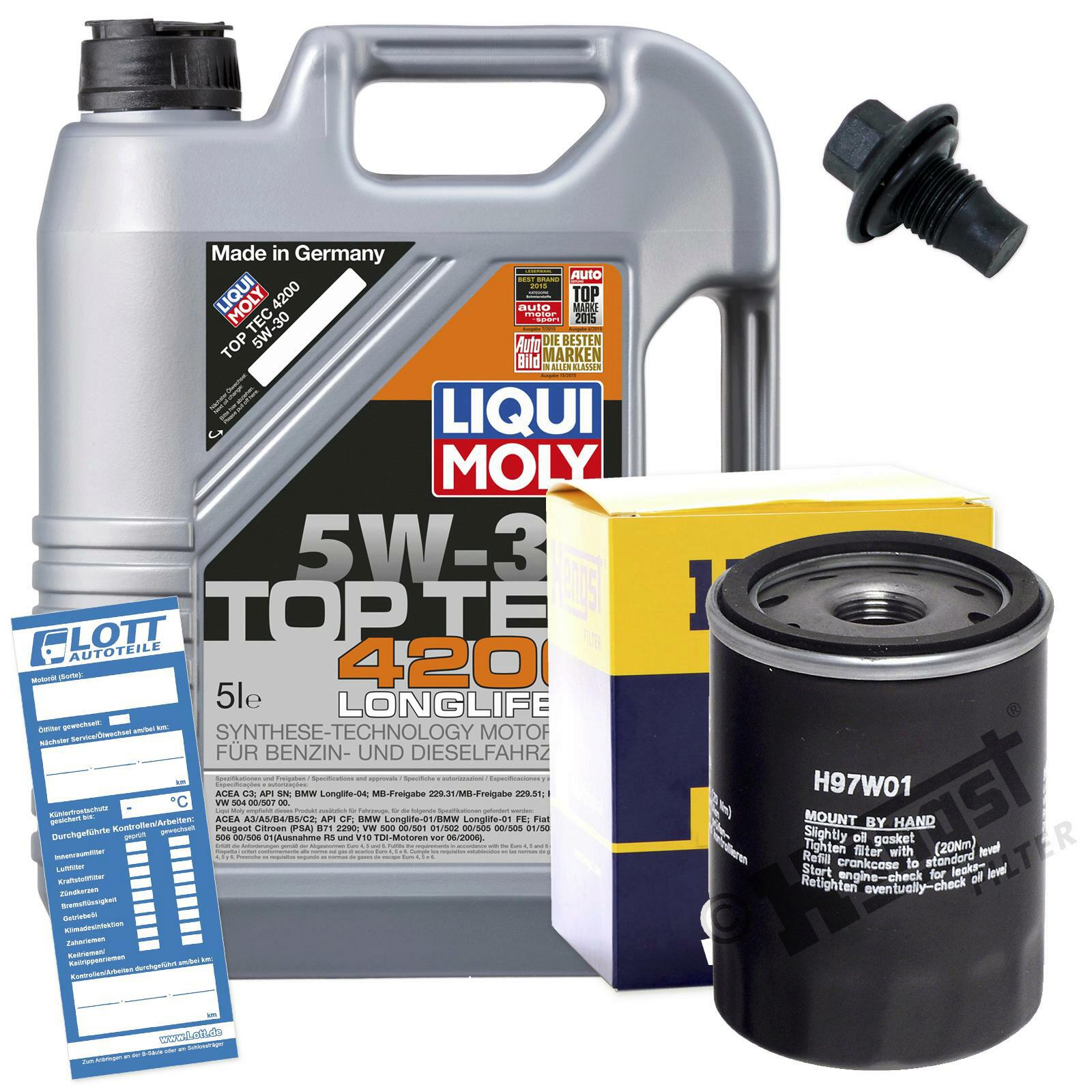 Ölwechsel Set 5L Liqui Moly Motoröl + Hengst Ölfilter + Ablassschraube